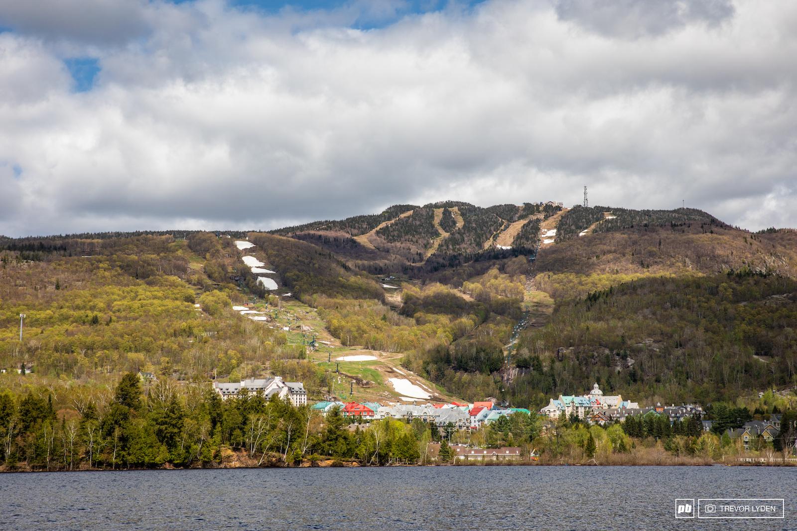 Looking back at Tremblant resort over Tremblant lake.