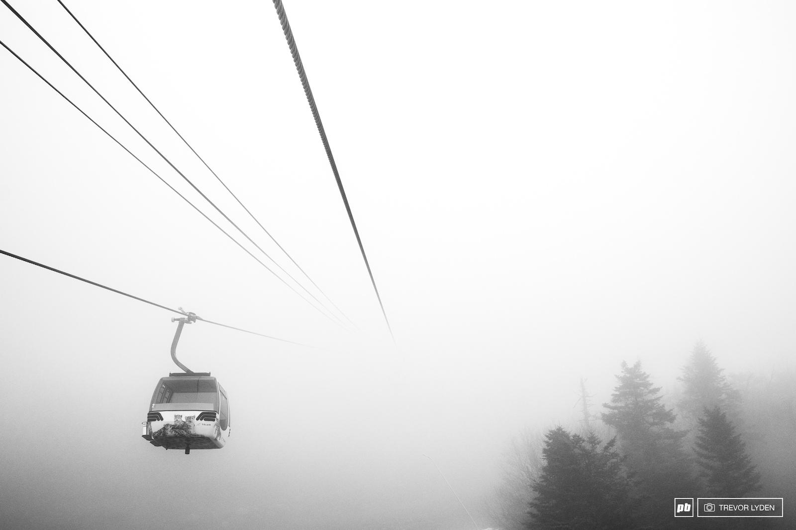 A foggy tram ride on the summit.