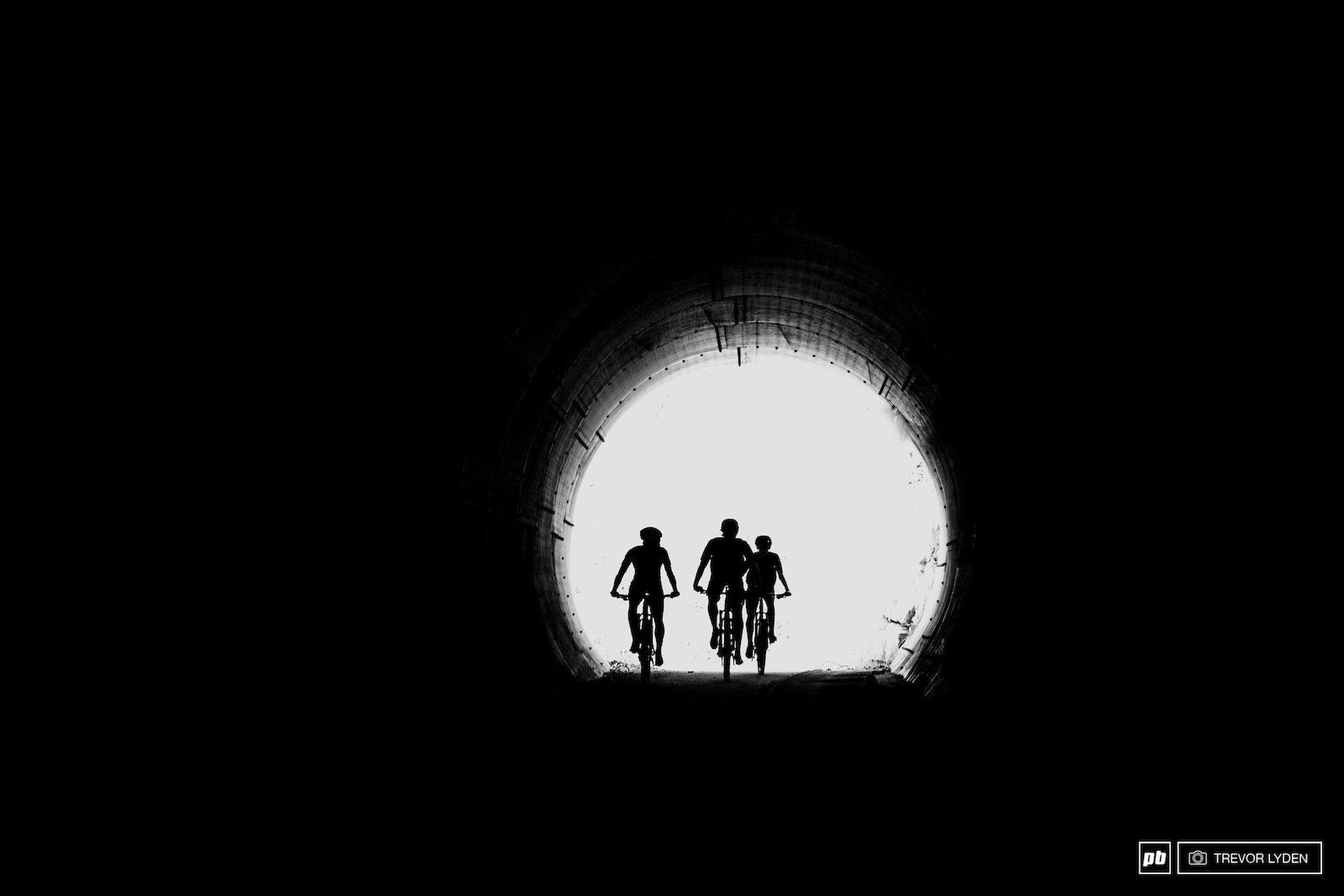 Tunnel riding through town on the way to the local trails.