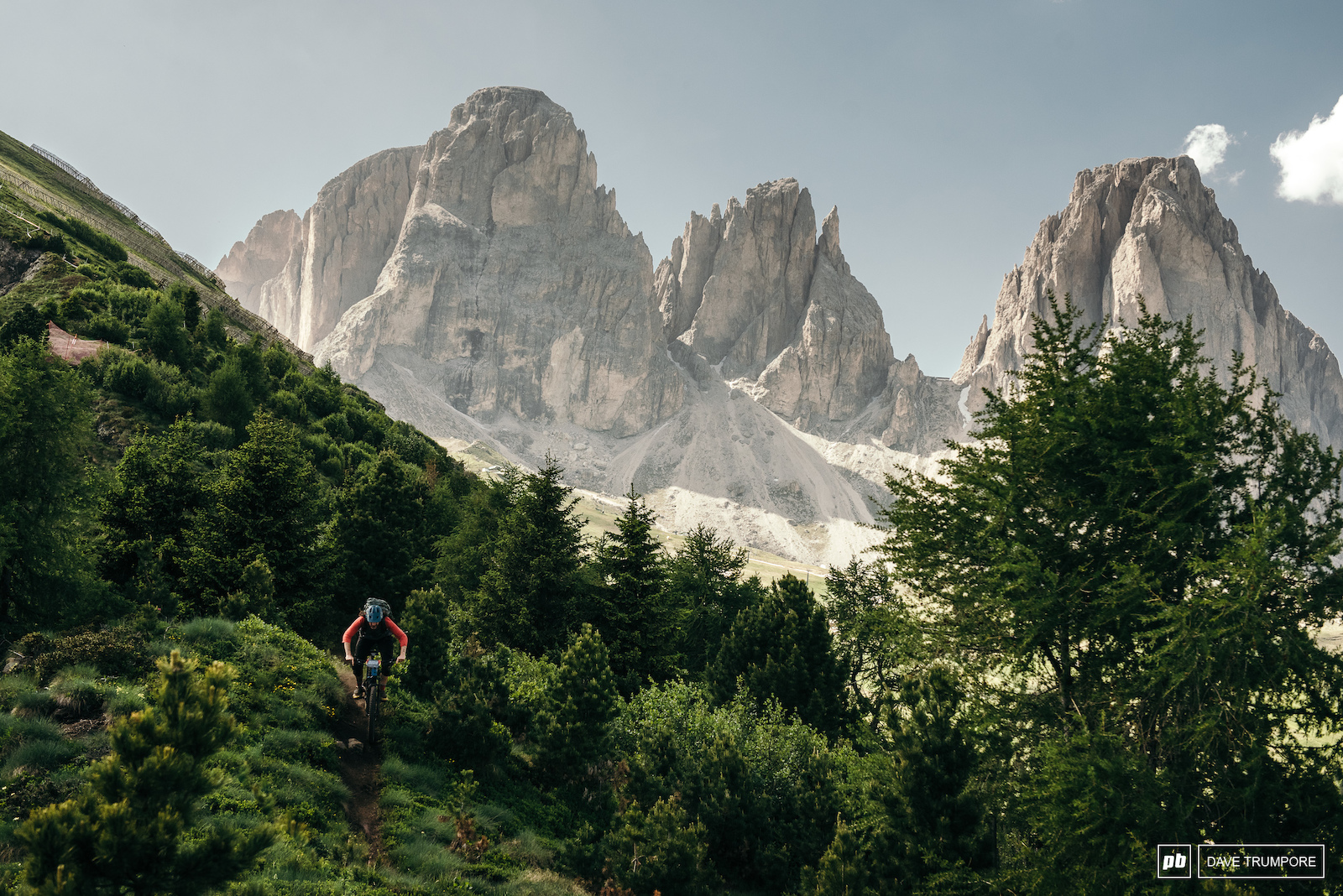 No matter where you look on Stage 5 you can not escape a view of the Dolomites.