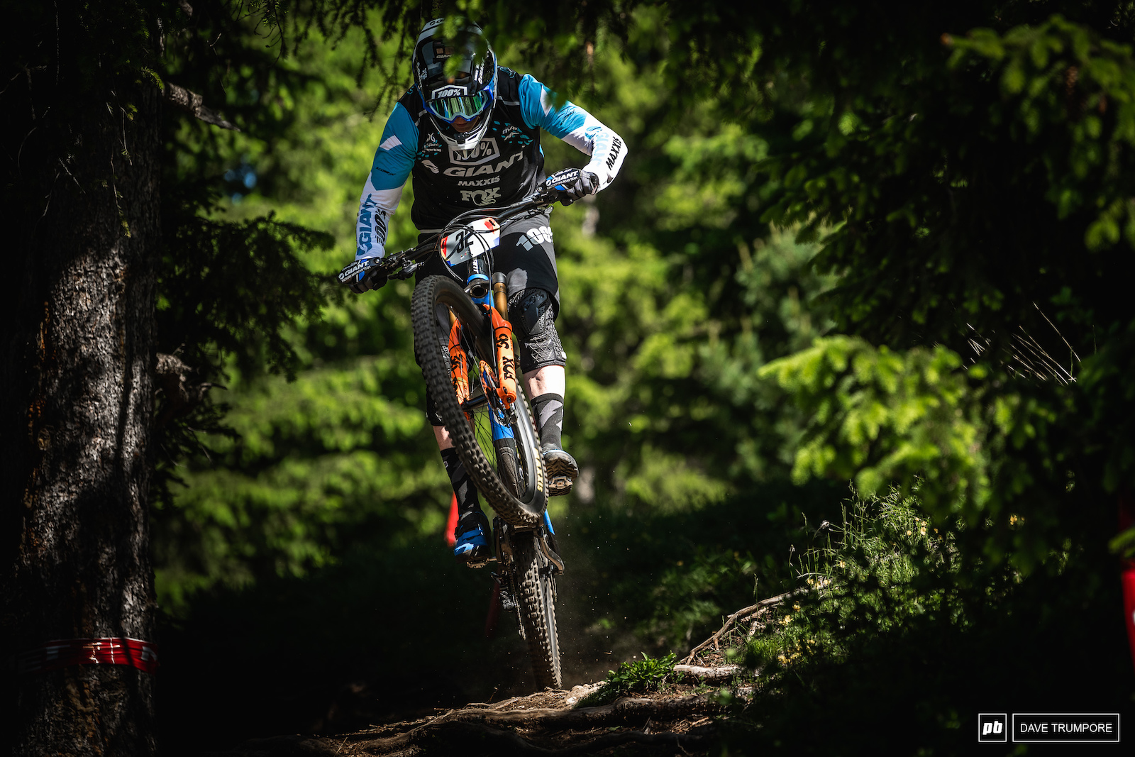 Josh Carlson posting up and over the roots on Stage 1.