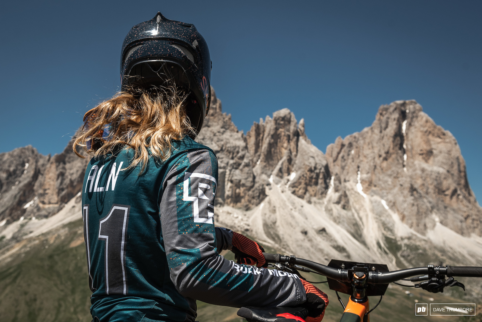 ALN taking in the incredible views of the Dolomites from the top of Stage 5.