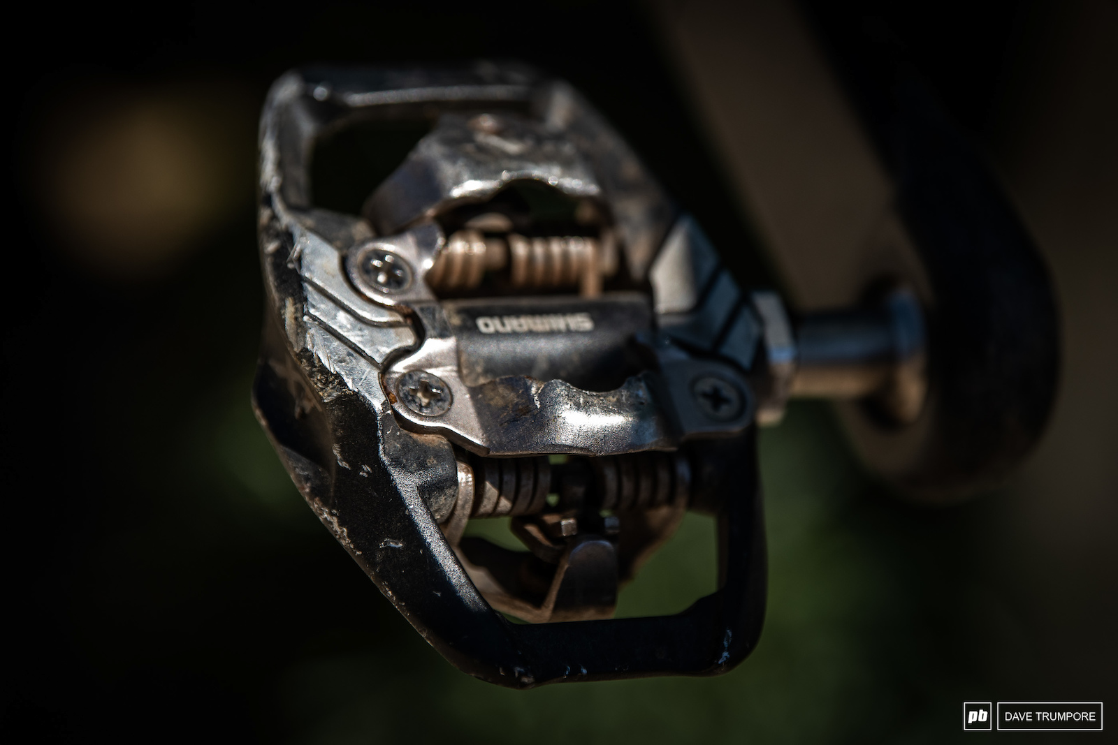 Good old Shimano XT pedals with the tension one turn from fully tight.