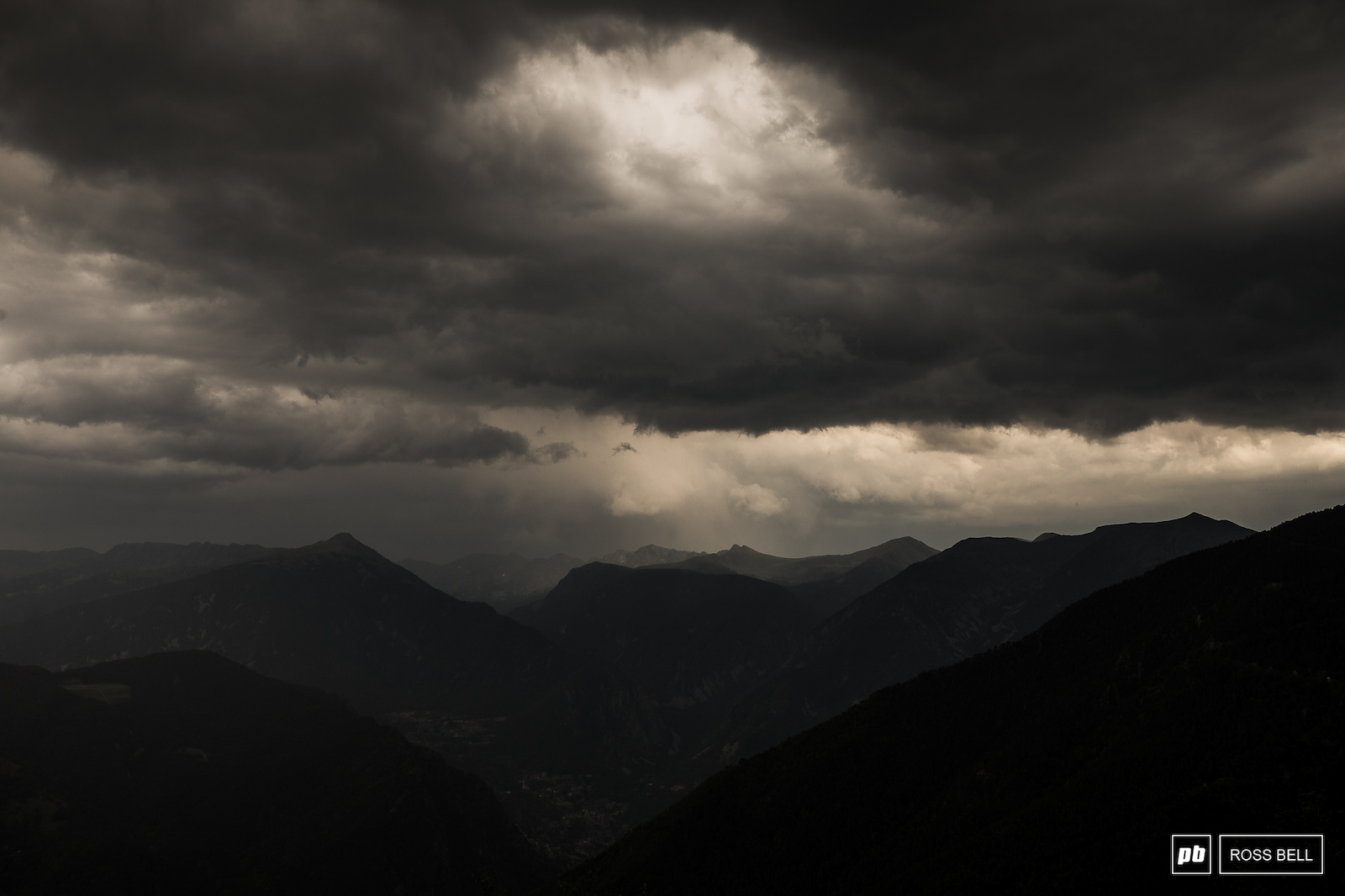 Stormy skies from the pits at the top of hill this week.