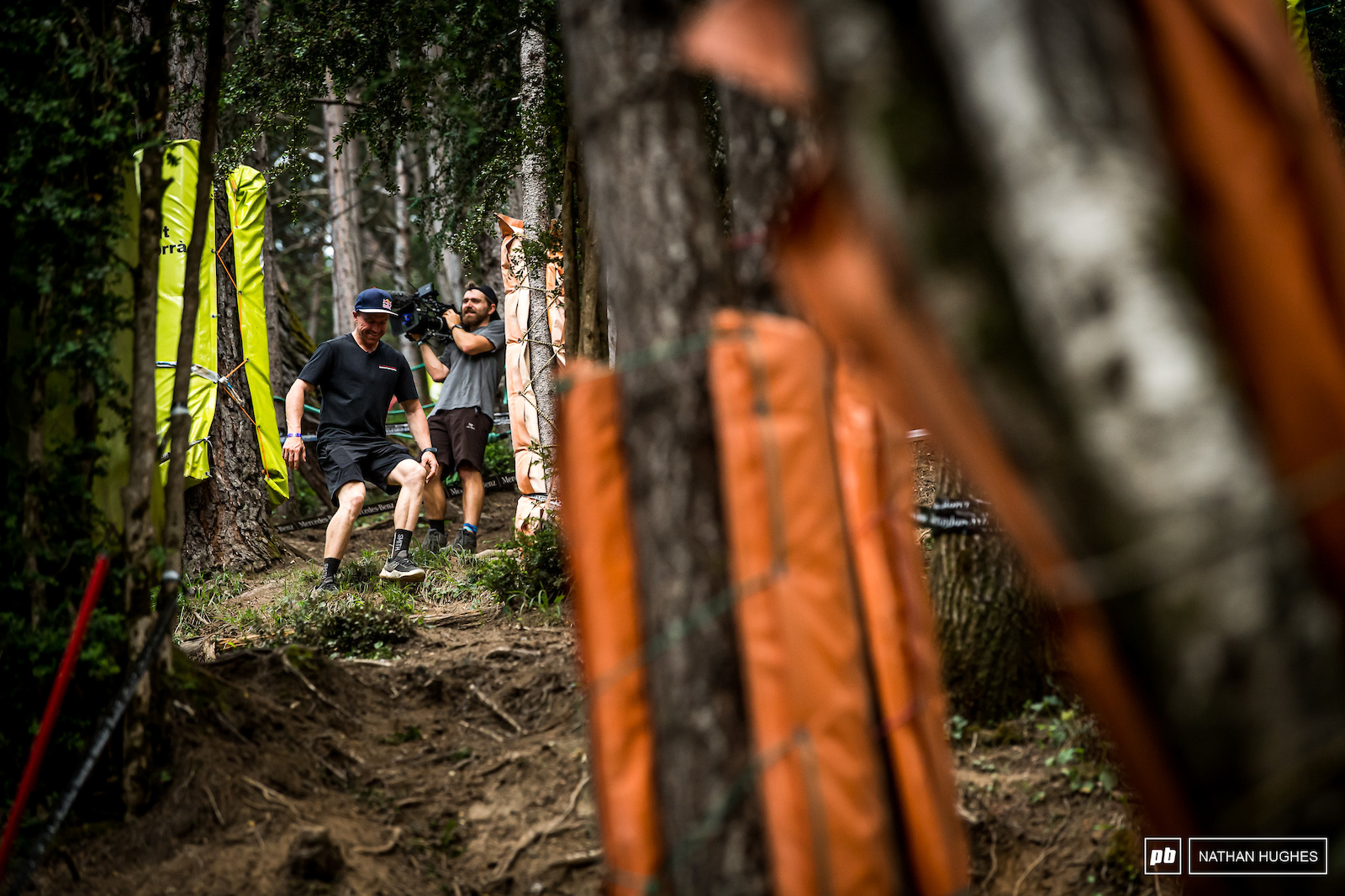 Gwin stomps down the new yet to be rutted steep section.