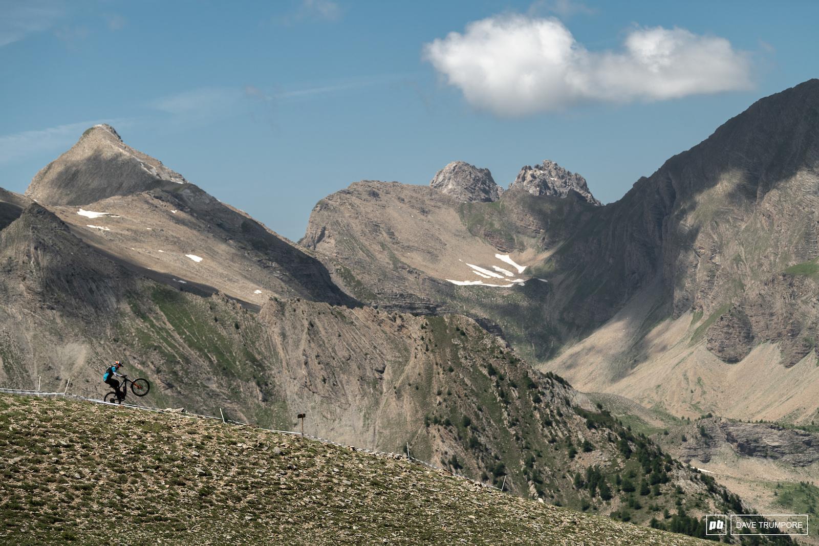 Josh Carlson a ridge line and some big mountains.