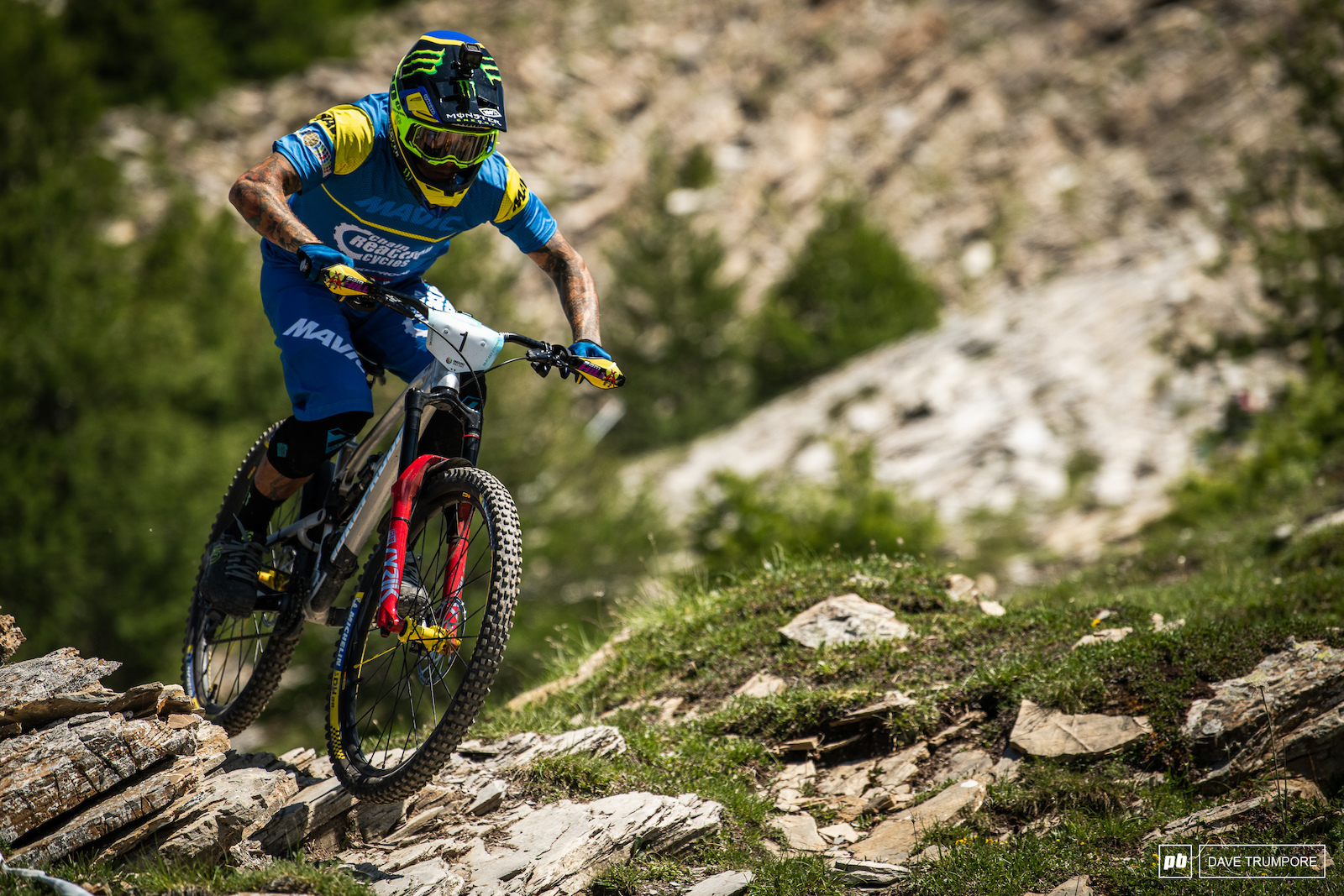 Sam Hill skimming over the sharp rocks on Stage 7