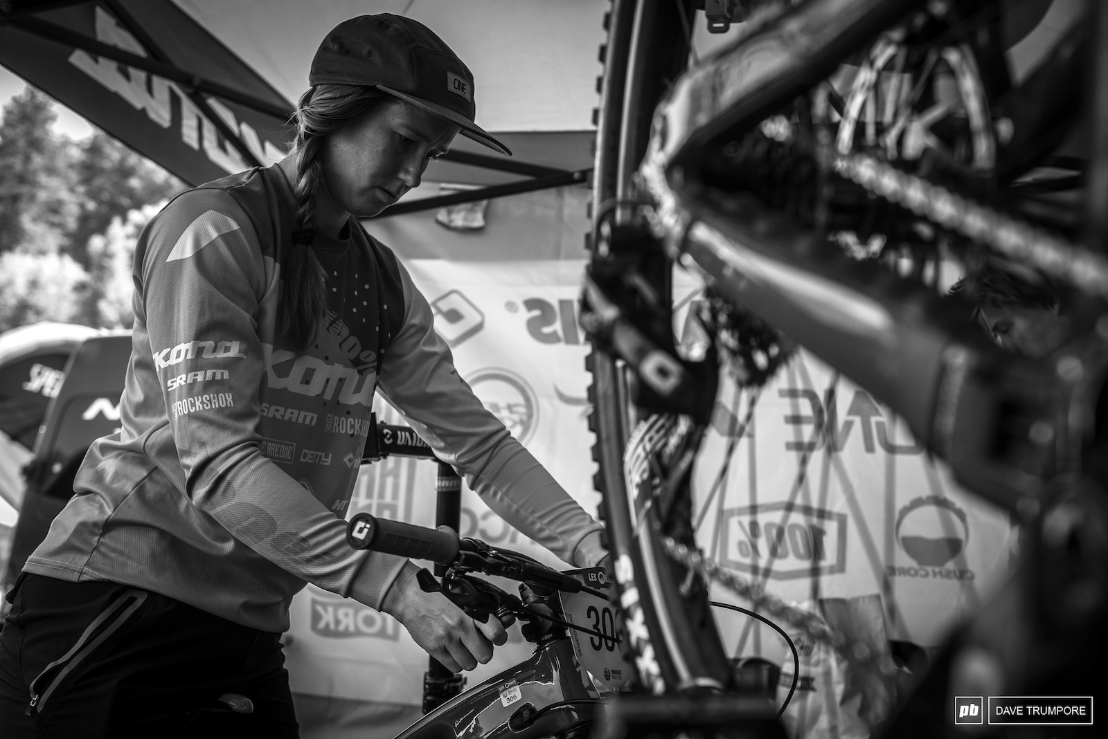 Miranda Miller putting the final touches in her race bike