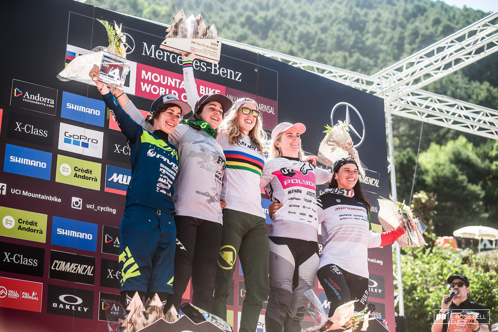 Your elite womens podium in Andorra 1st Rachel Atherton 2nd Marine Cabirou 3rd Tracey Hannah 4th Emilie Siegenthaler 5th Eleonora Farina