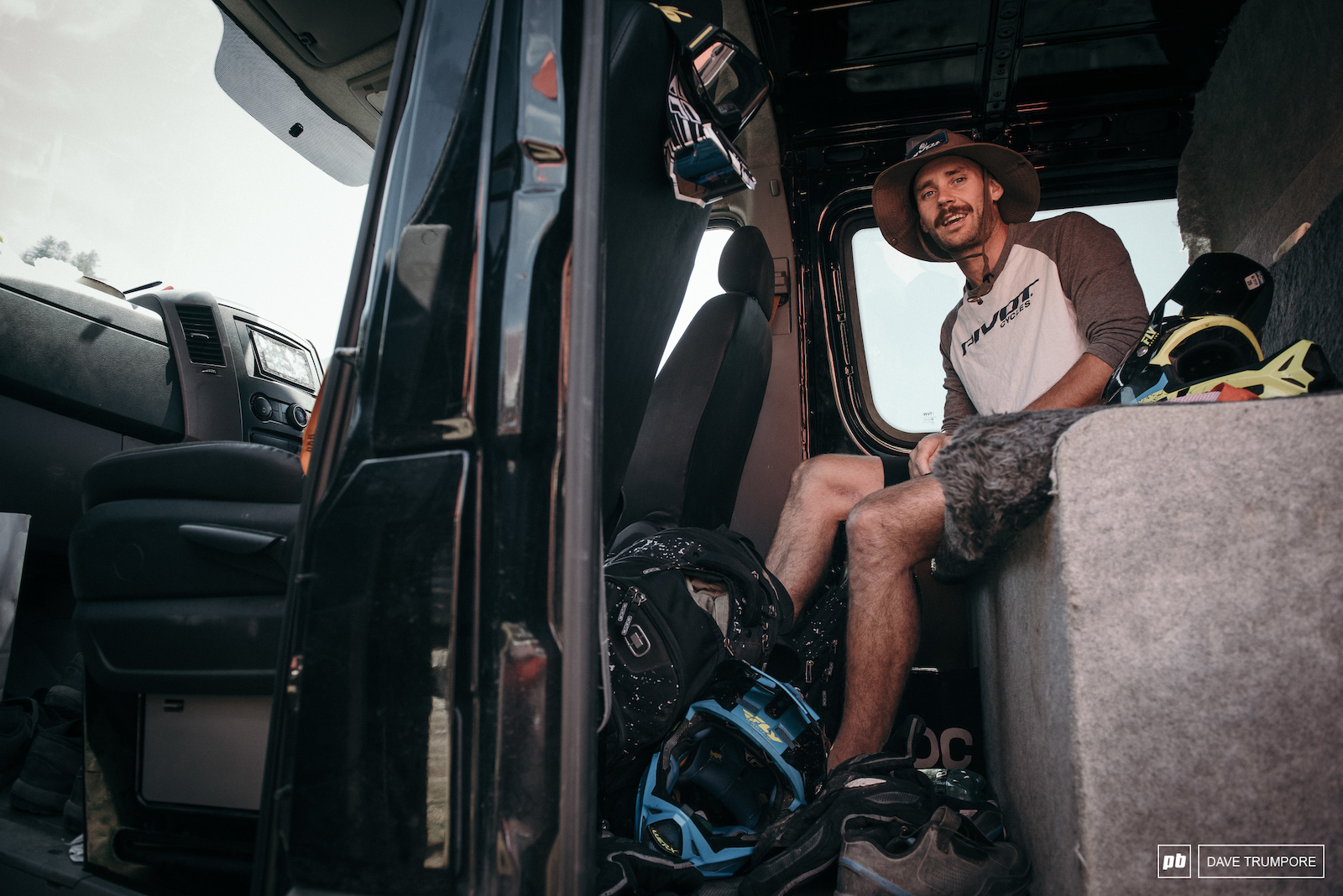 Eddie Masters calm and collected while living that van life in the pits