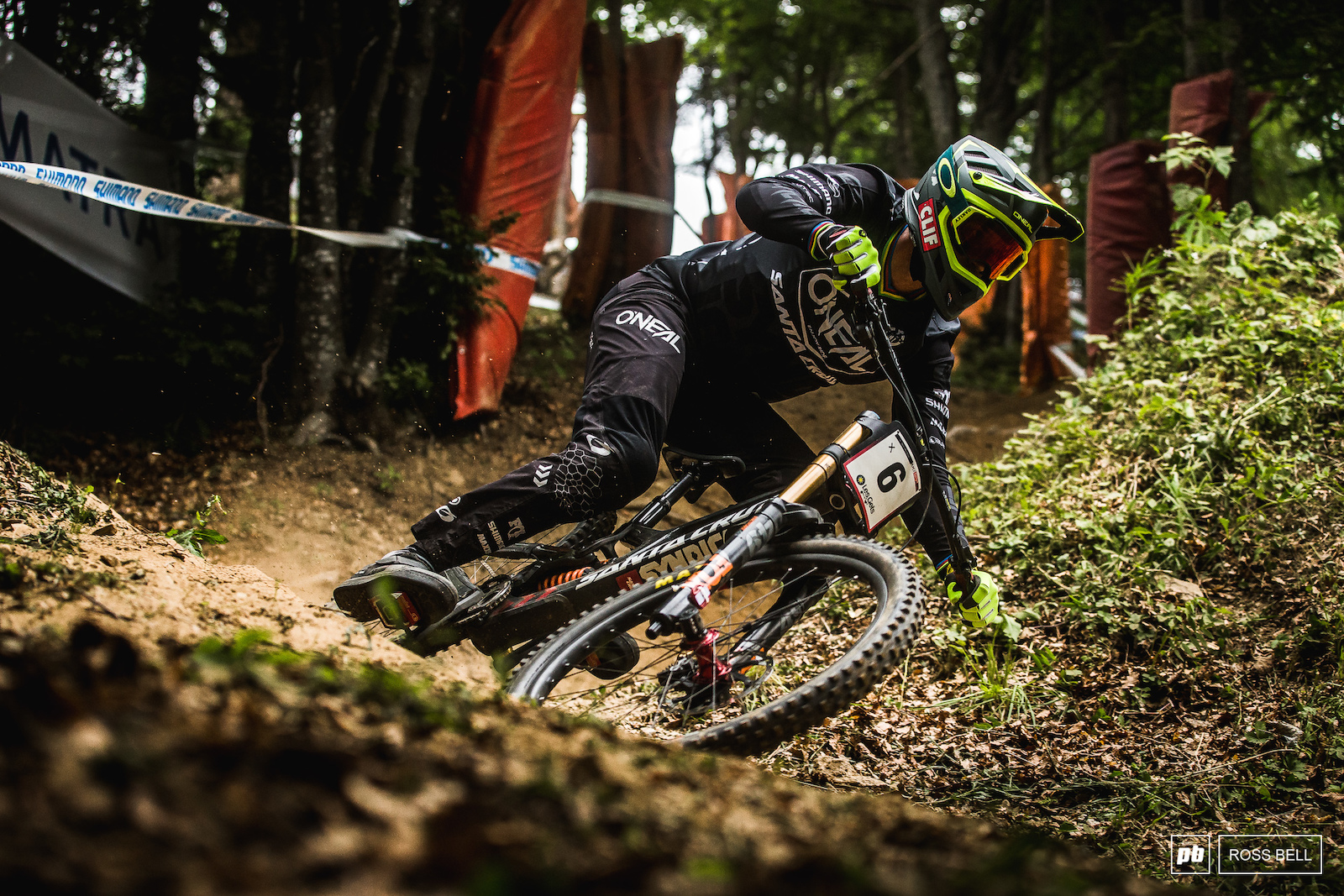Greg Minnaar dives into the first steep section in the woods.