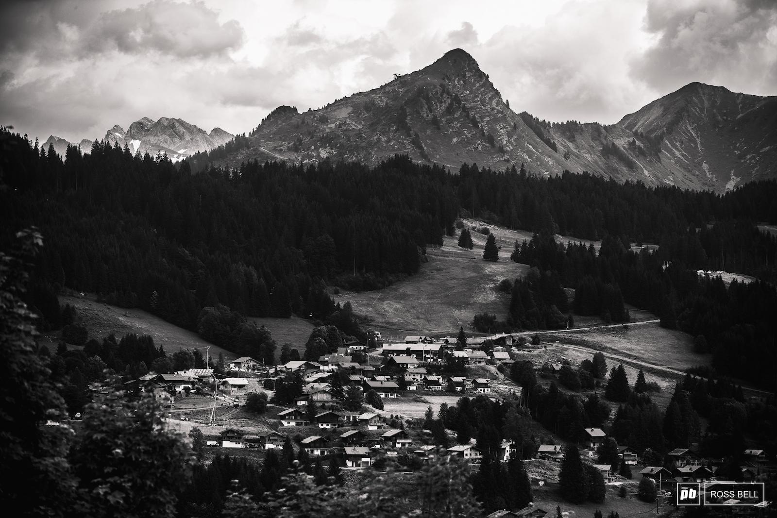 A quaint setting for a mountain bike race.