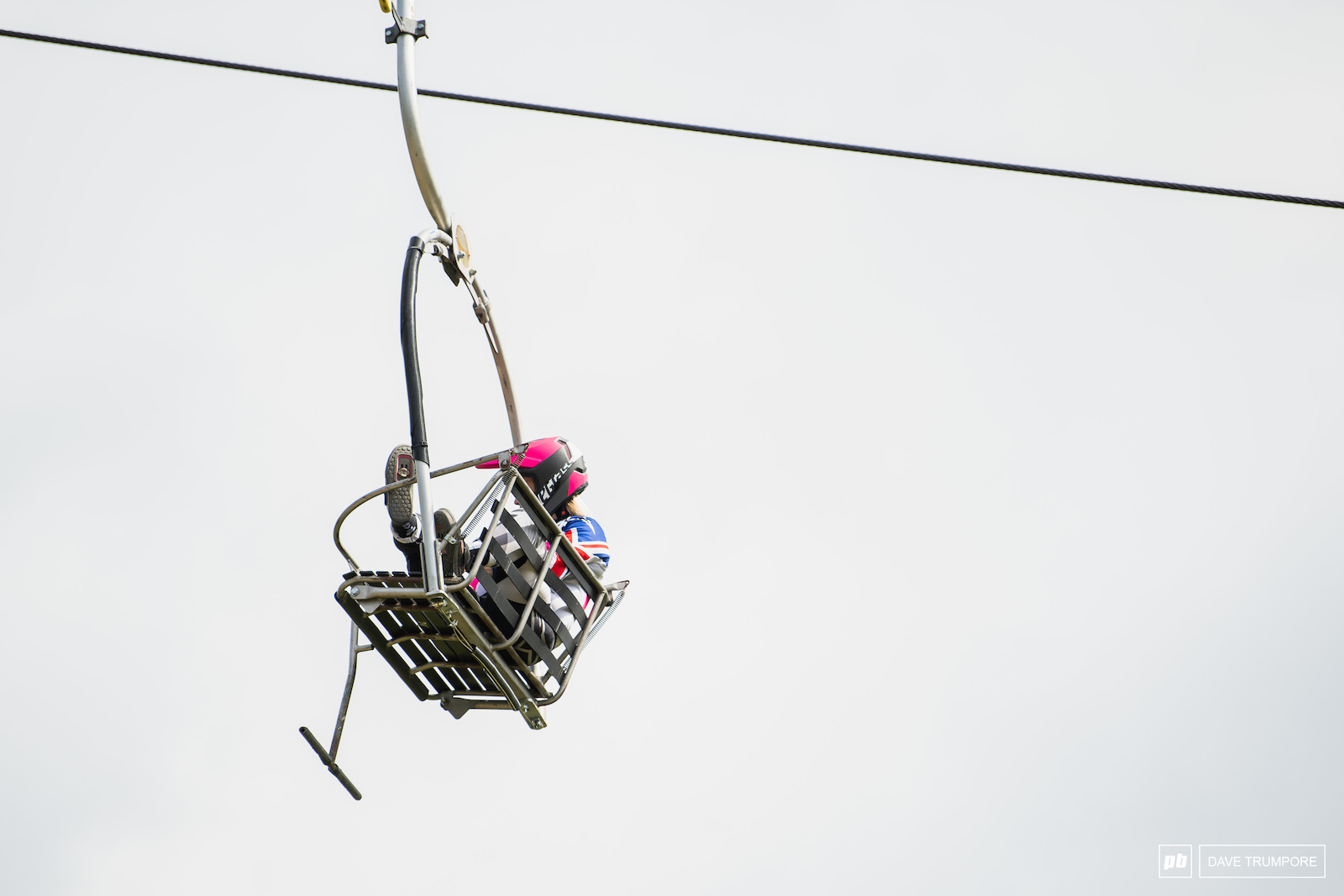 Tracey Hannah napping on the slowest chairlift in France