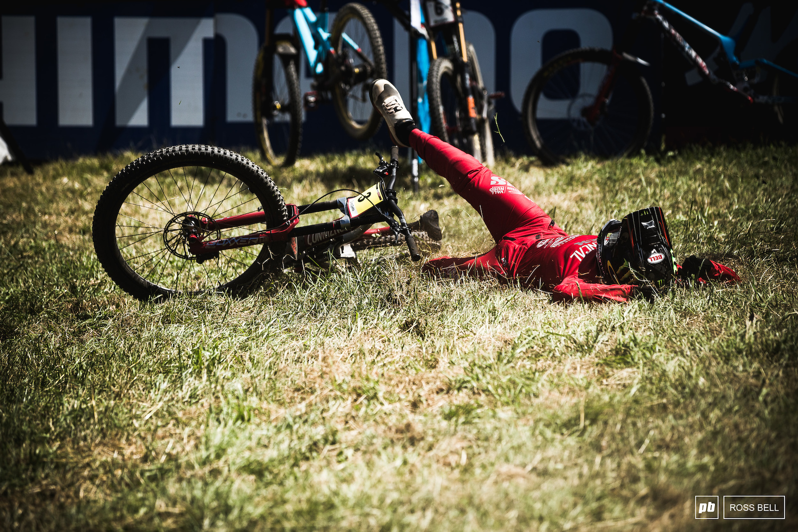 Amaury Pierron ends up on the ground after crossing over the line to an incredible win...