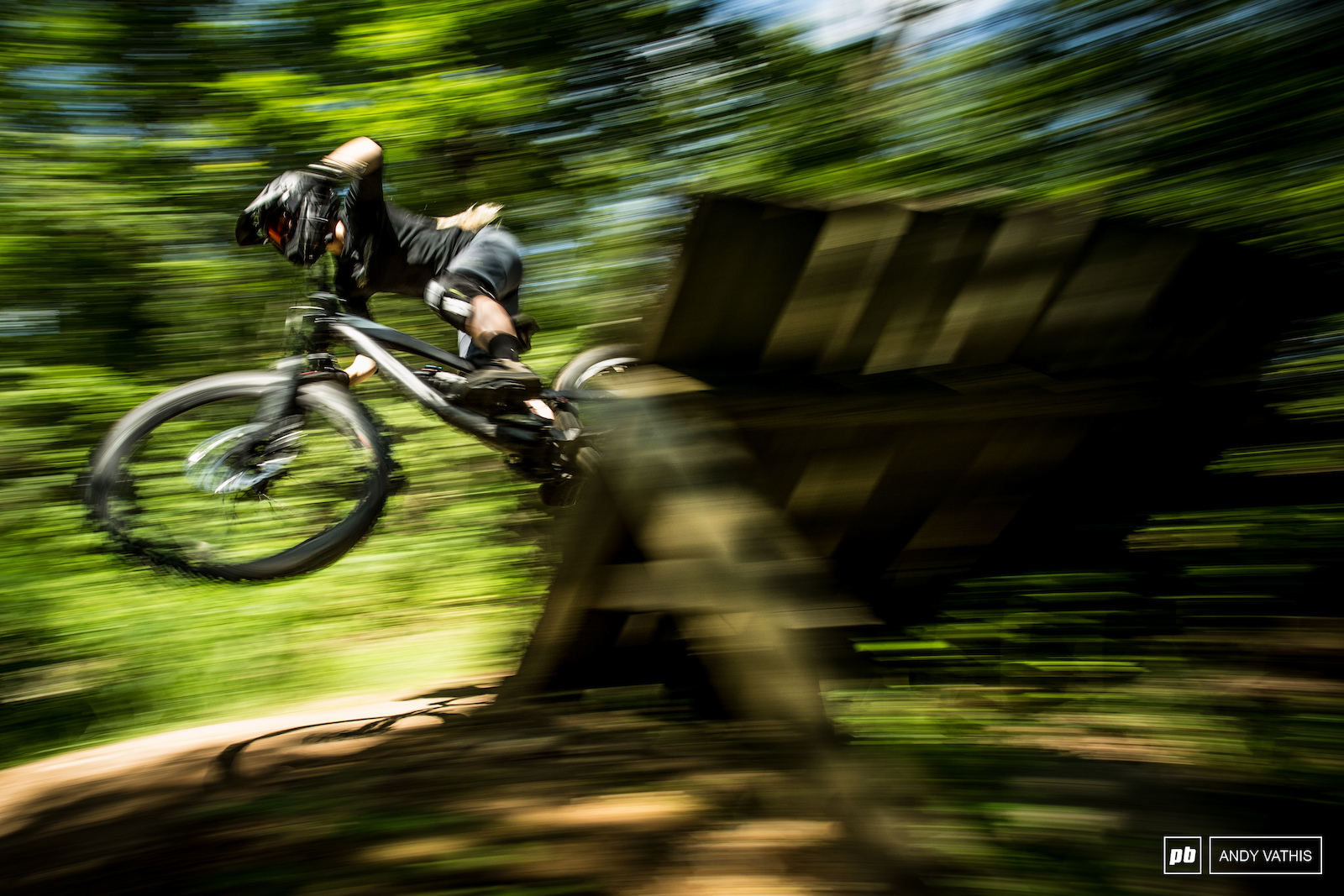 There s a good selection of wooden features to get wild one. Jamie flying out of the the wooden berm.