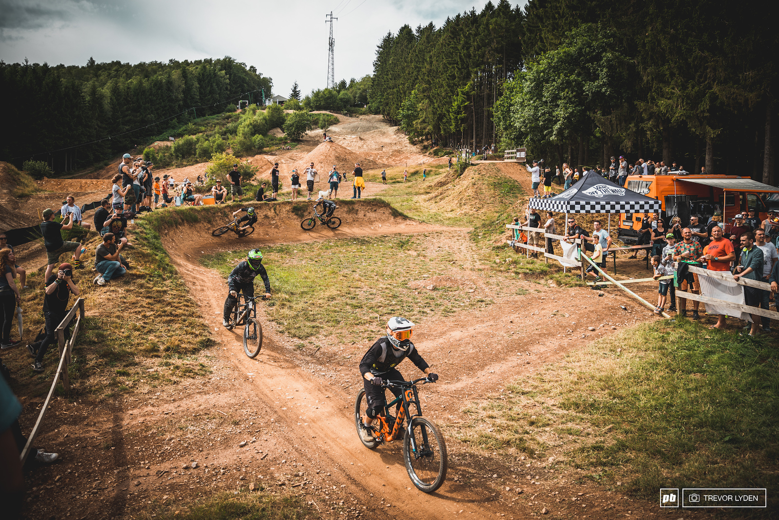 The Loose Riders mega train had around 100 riders descending the hills of the bike park.