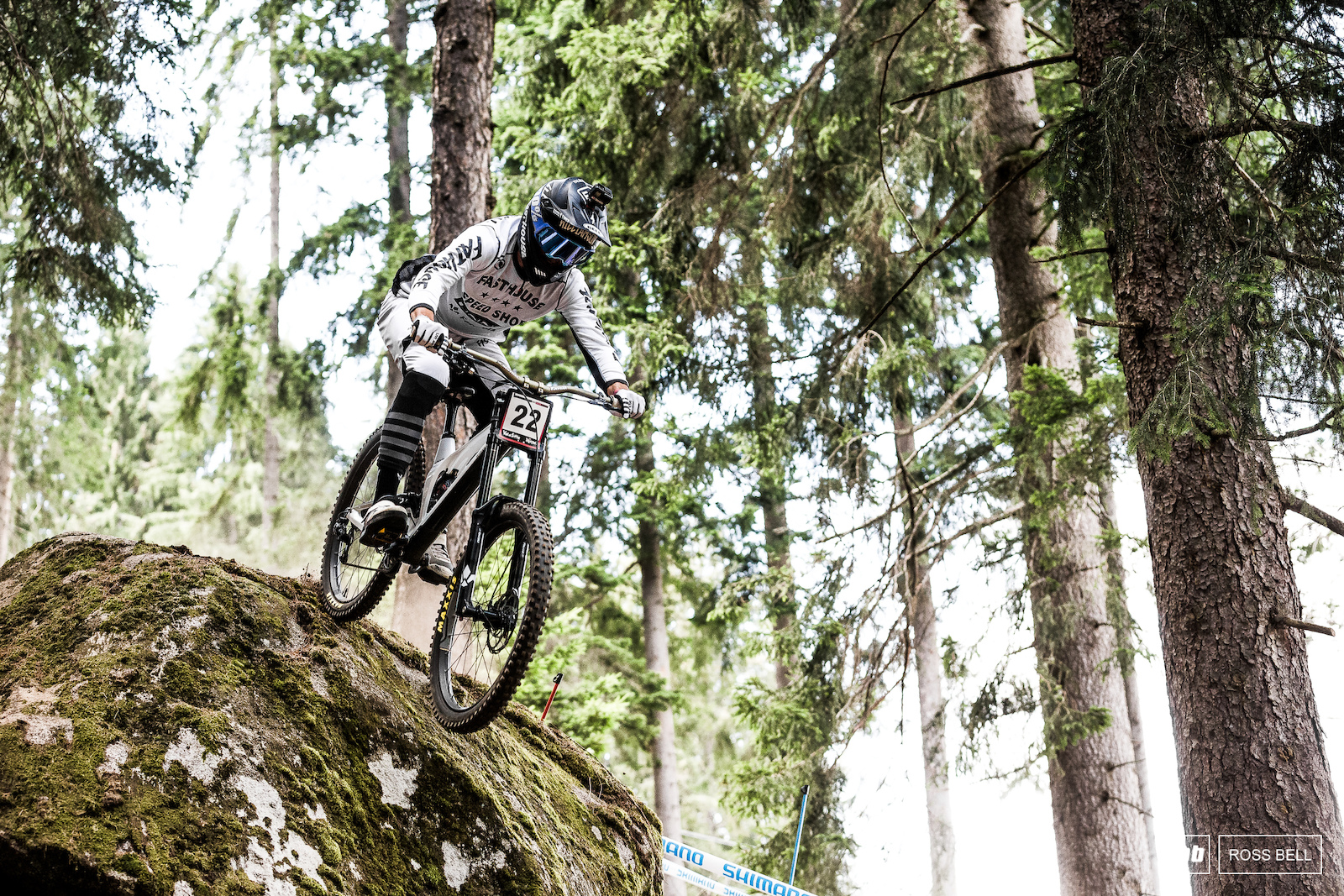 Greg Williamson was one of the only riders opting for this line over the massive boulder near the start of the woods.