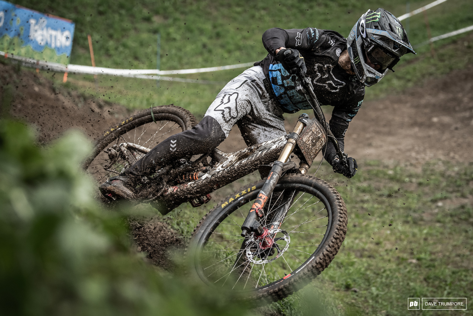 Loris Vergier drifts it along the outside shortly after a downpour made a mess of the track in Val di Sole