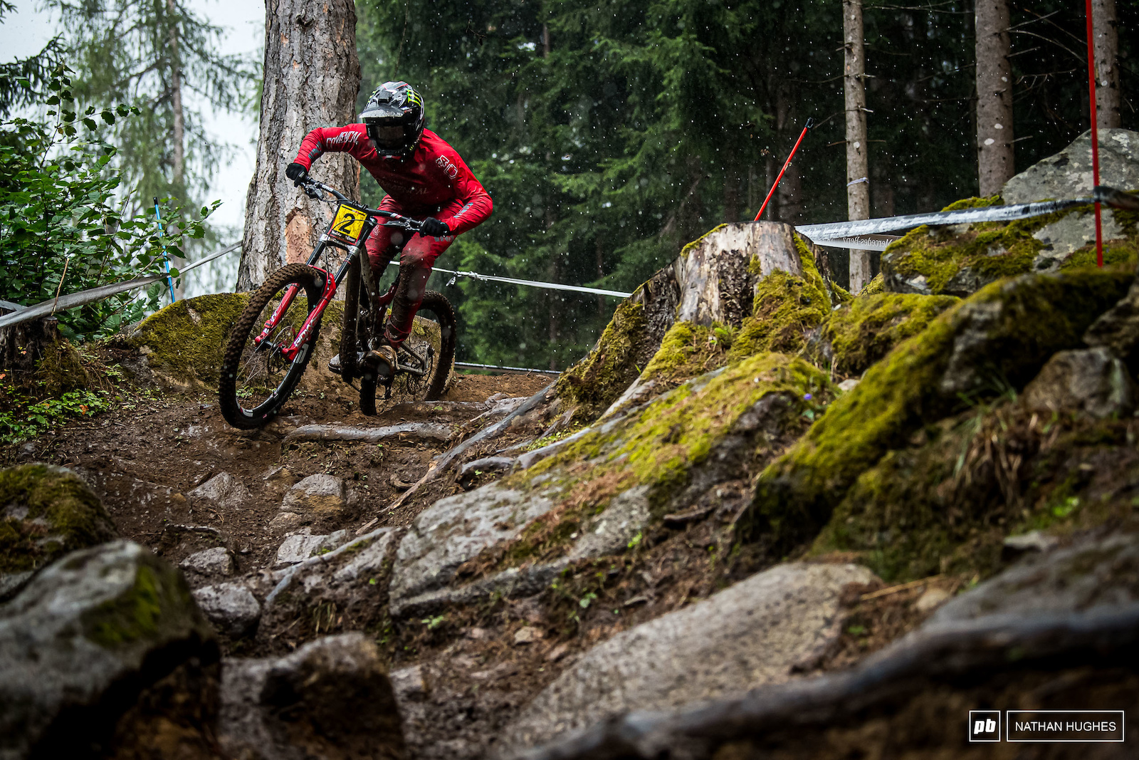 Some of the heaviest rain fell while Amaury Pierron was on the hill and even that could only hold him back as far as 5th place.