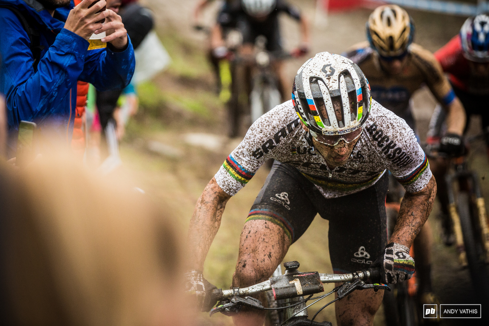 Nino Schurter couldn t find his pace on the slick track.