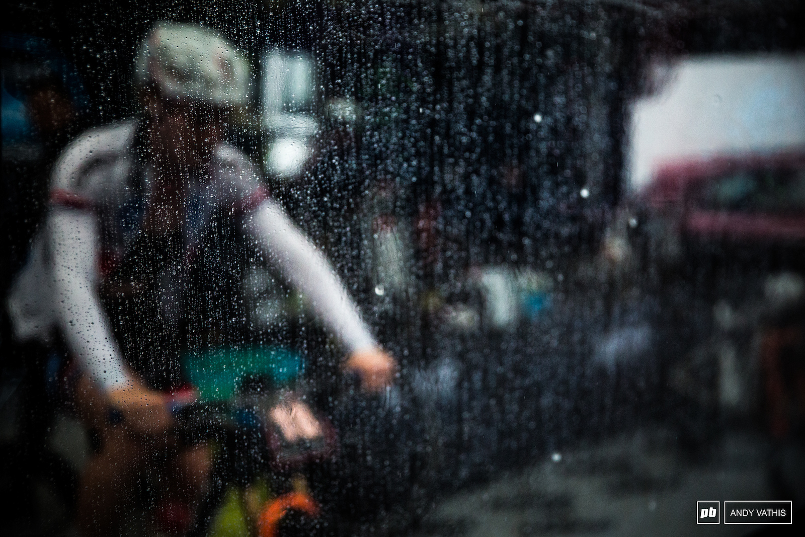 The rain began to fall heavy as soon as the women s field began their warm ups.
