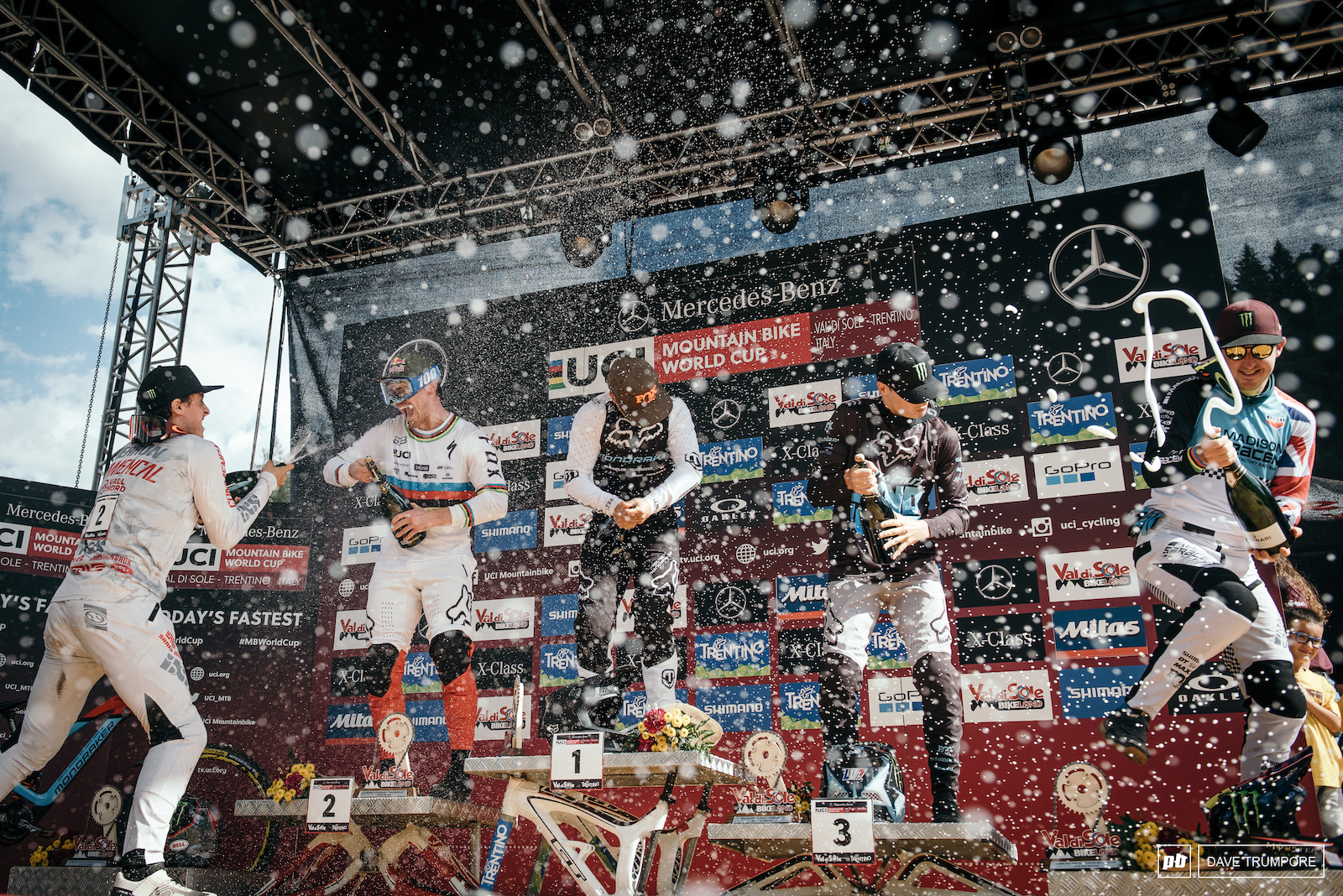 Podium celebrations as Laurie Greenland won his first Wolrd Cup and put a temporary halt to the winning streaks of Loic Bruni and Amaury Pierron