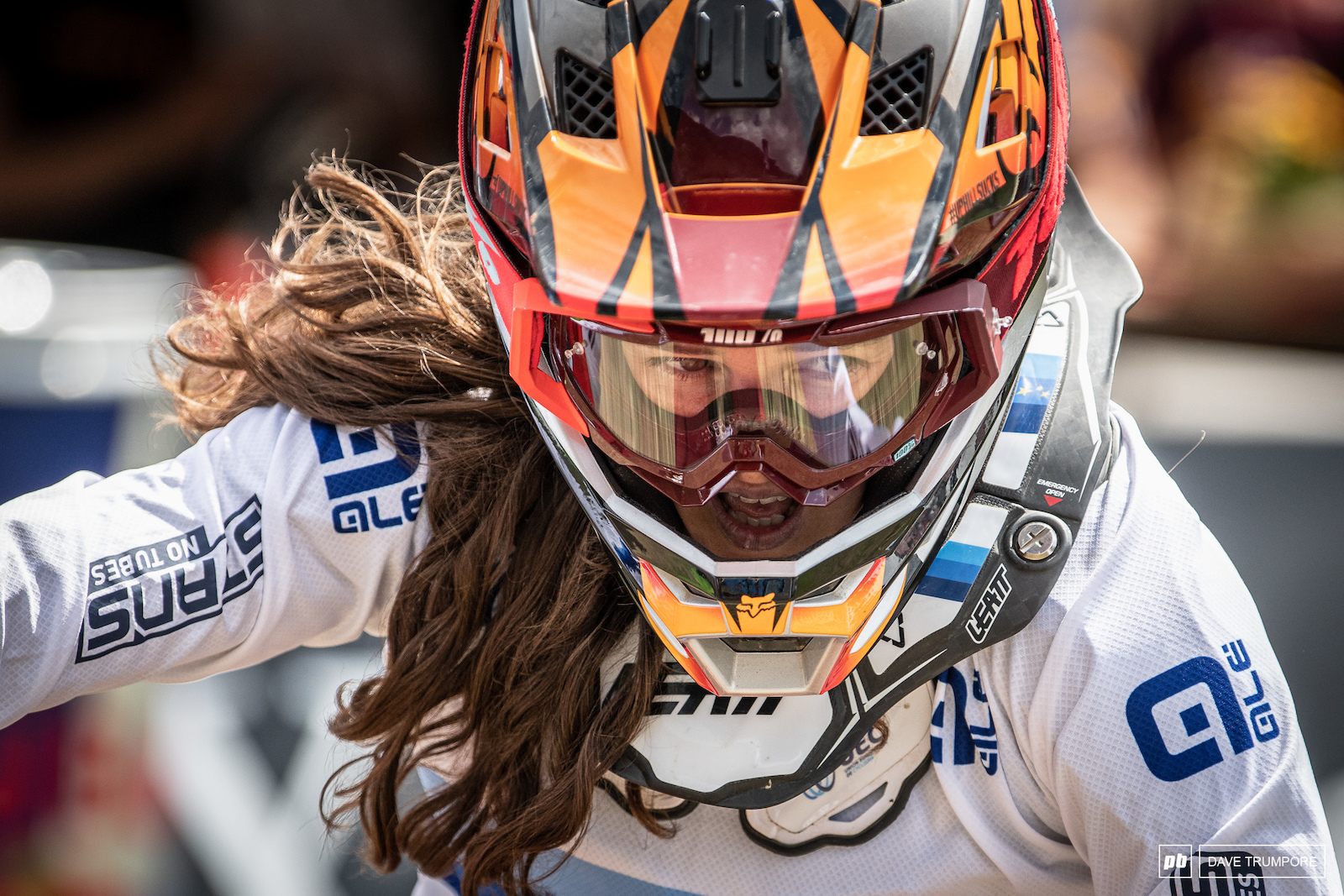 The game face of Camille Balanche as she crossed the line with a time that would land her in 3rd