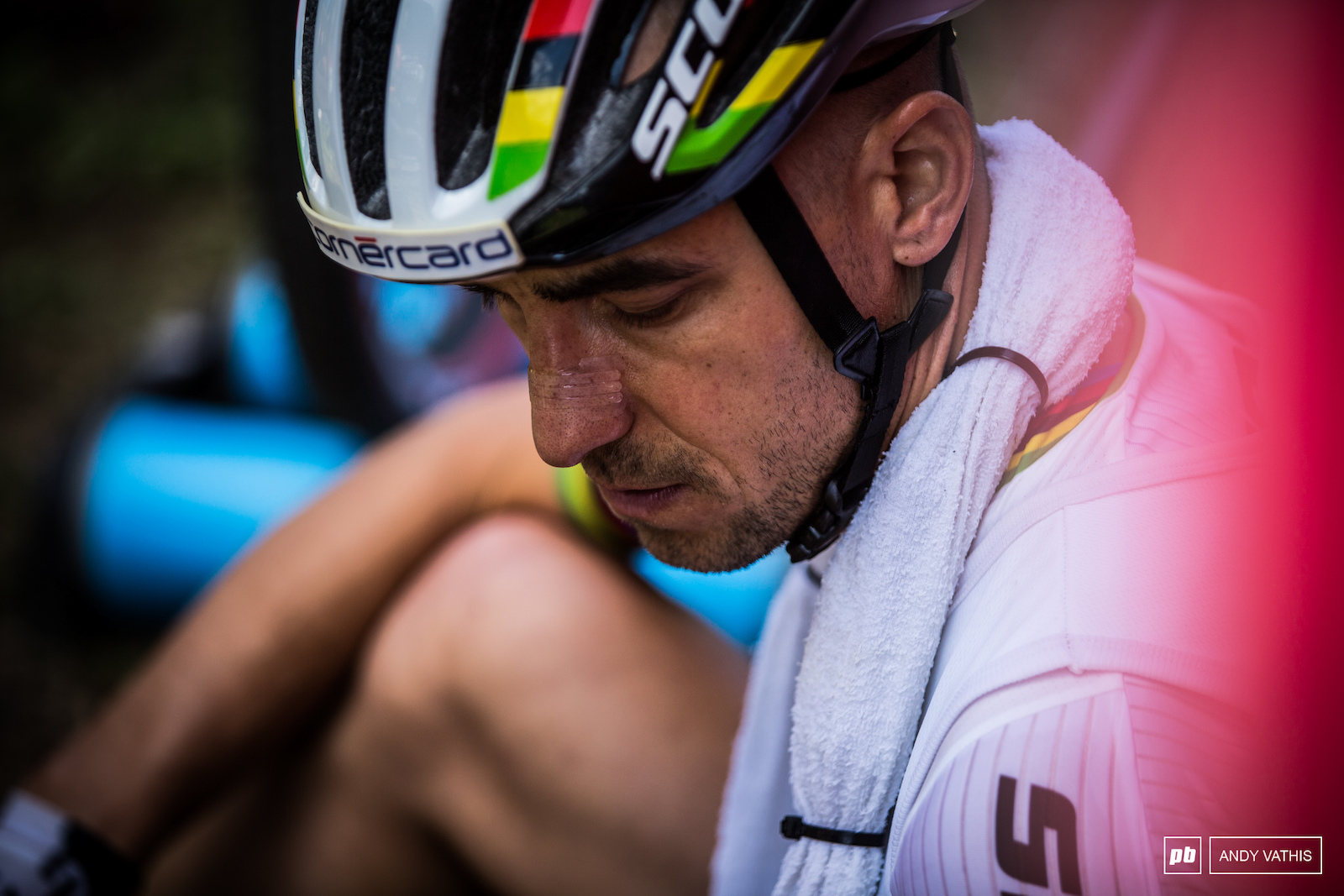 Nino Schurter focusing in on the task at hand. This course will make you suffer.