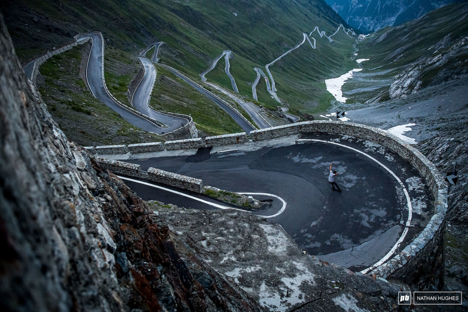 Andi Vathis with more than a couple of turns left to go on the Stelvio pass.