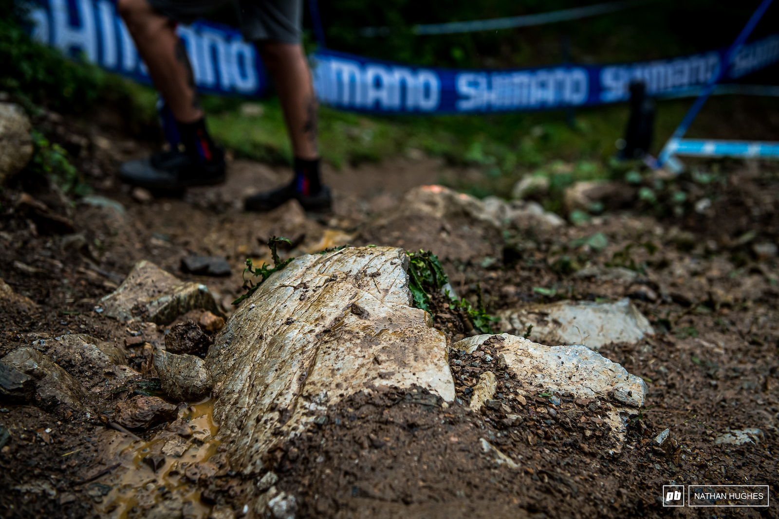 The Lenzerheide rocks have pretty minimal grip especially with a thin layer of slimy mud covering them.