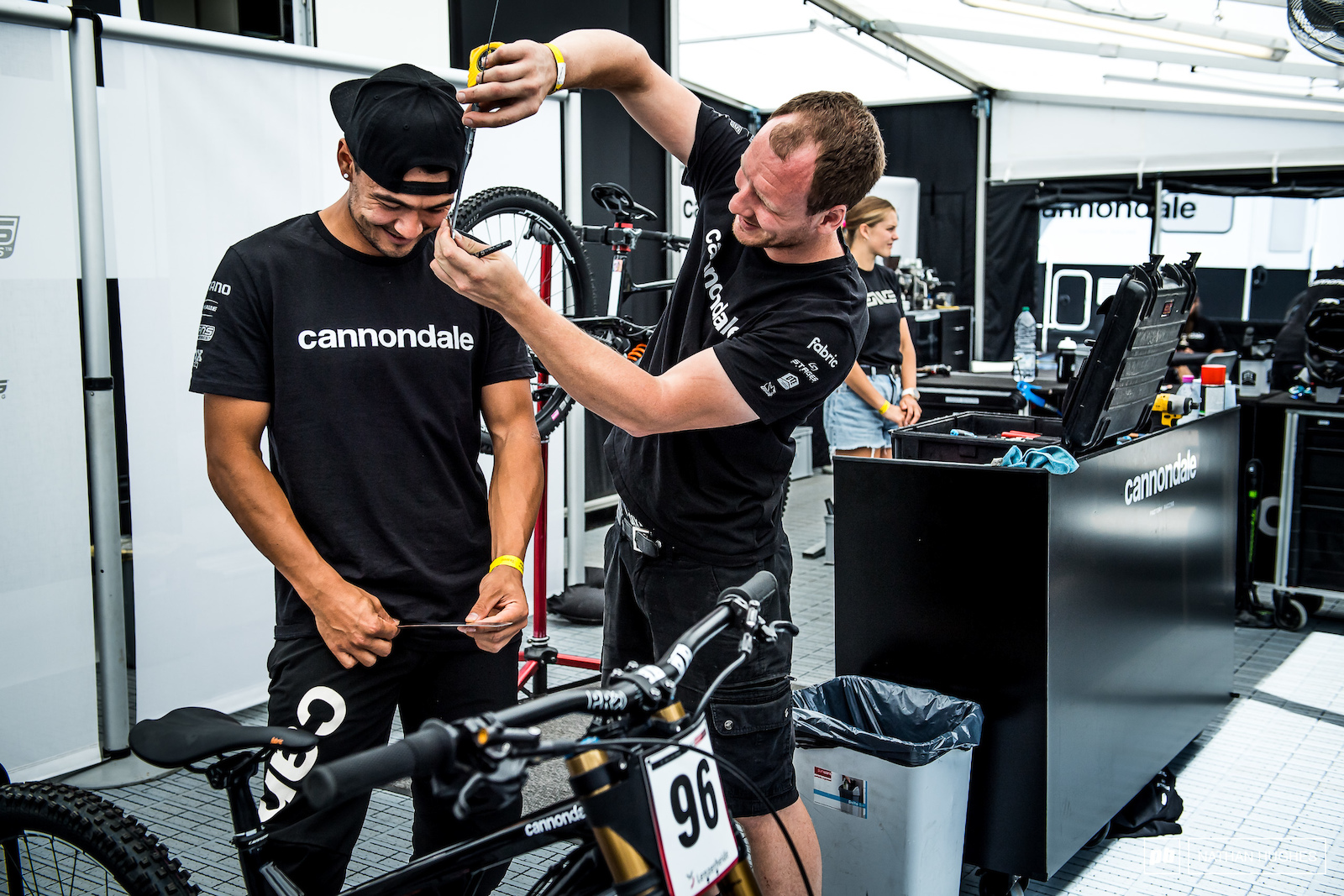 Kenta Gallagher is another of the tests inside the overall test that is the Cannondale DH program. The kind of test inception depicted is presumed to be a measurement test of some kind.