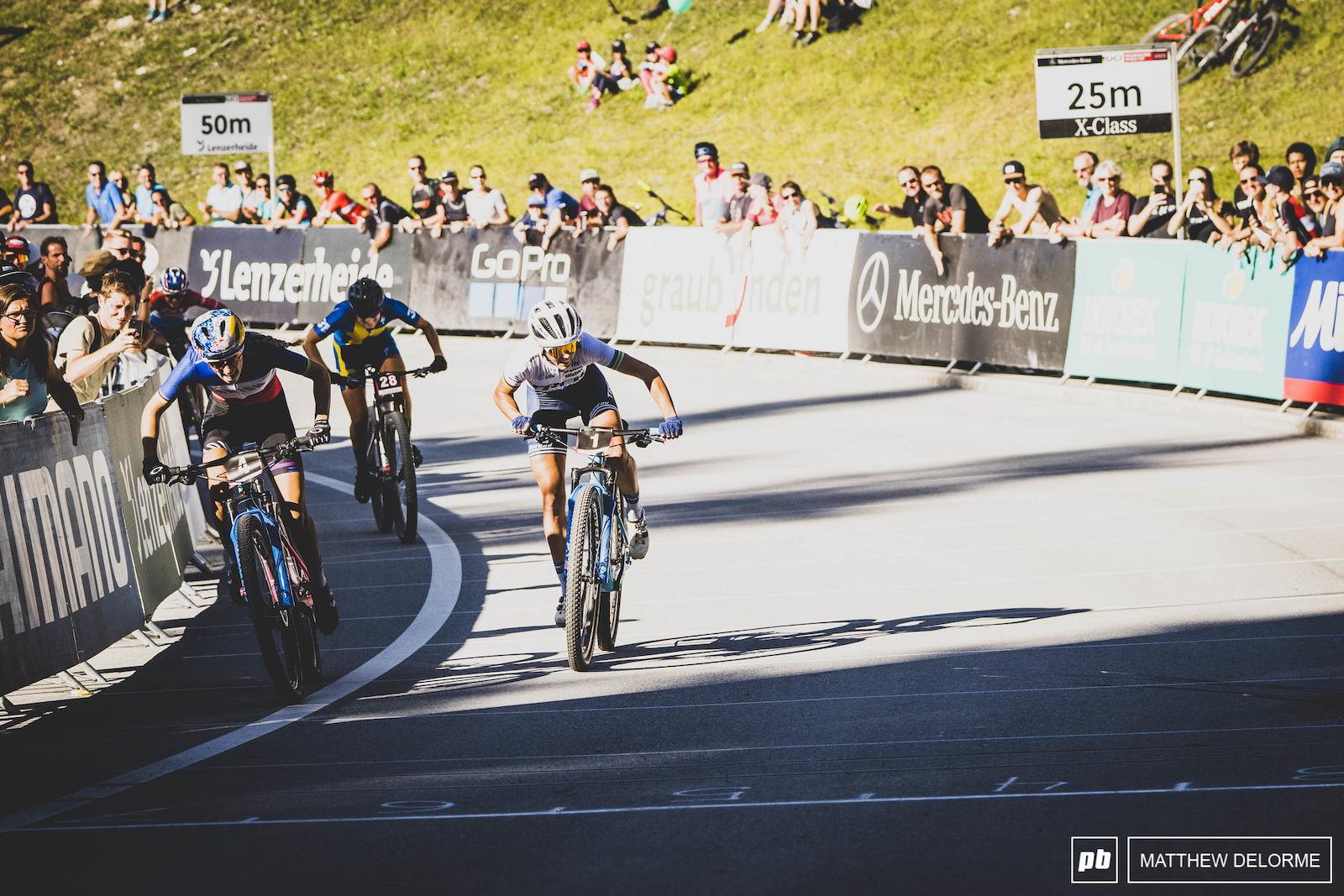 Neff and Prevot sprint for the finish.