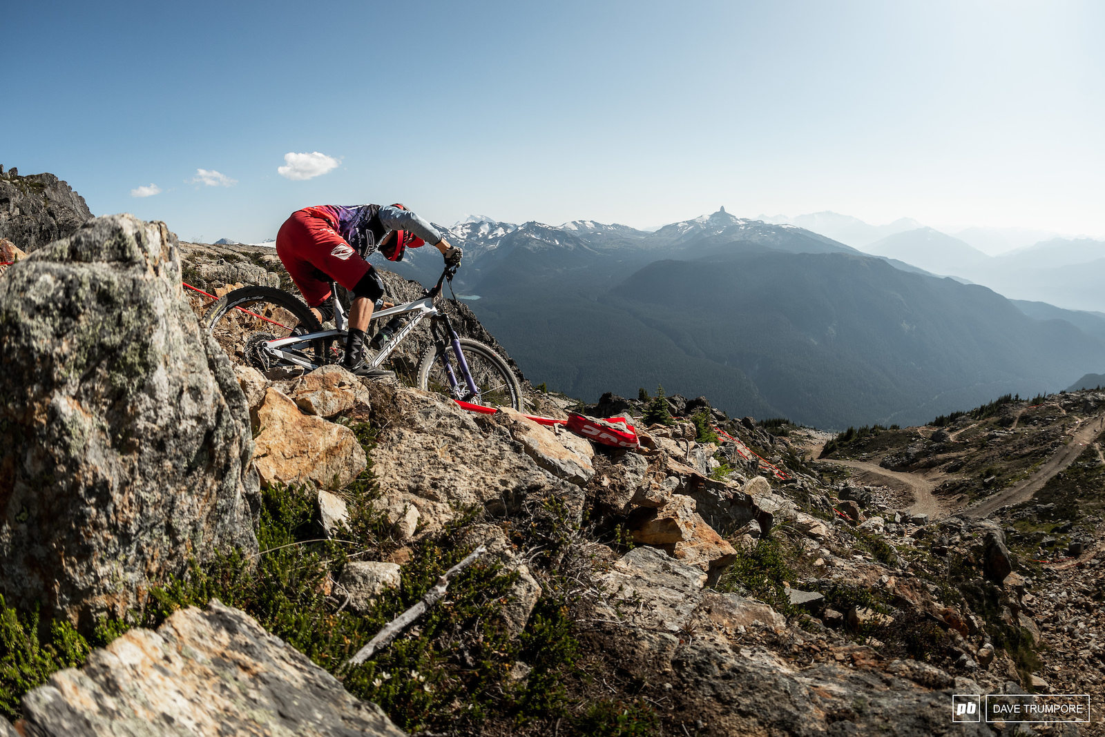 Kevin Miquel battling the rocks on what will be the opening stage of this years Whistler EWS