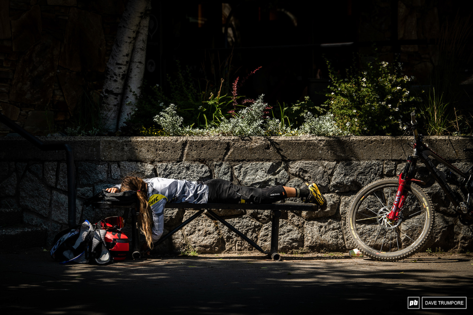 Isabeau Courdurier has the Whistler lifestyle locked down. Ride rough and rowdy trails all day in the heat and then try to sleep wherever you can