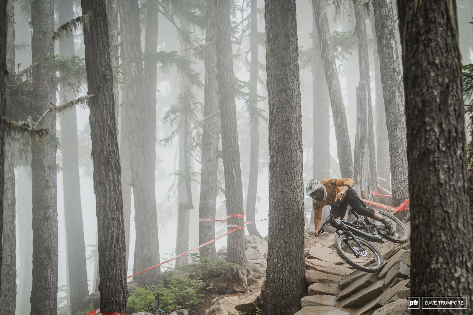 Dan Wolfe drops in through the fog in between his live Pinkbike social media updates