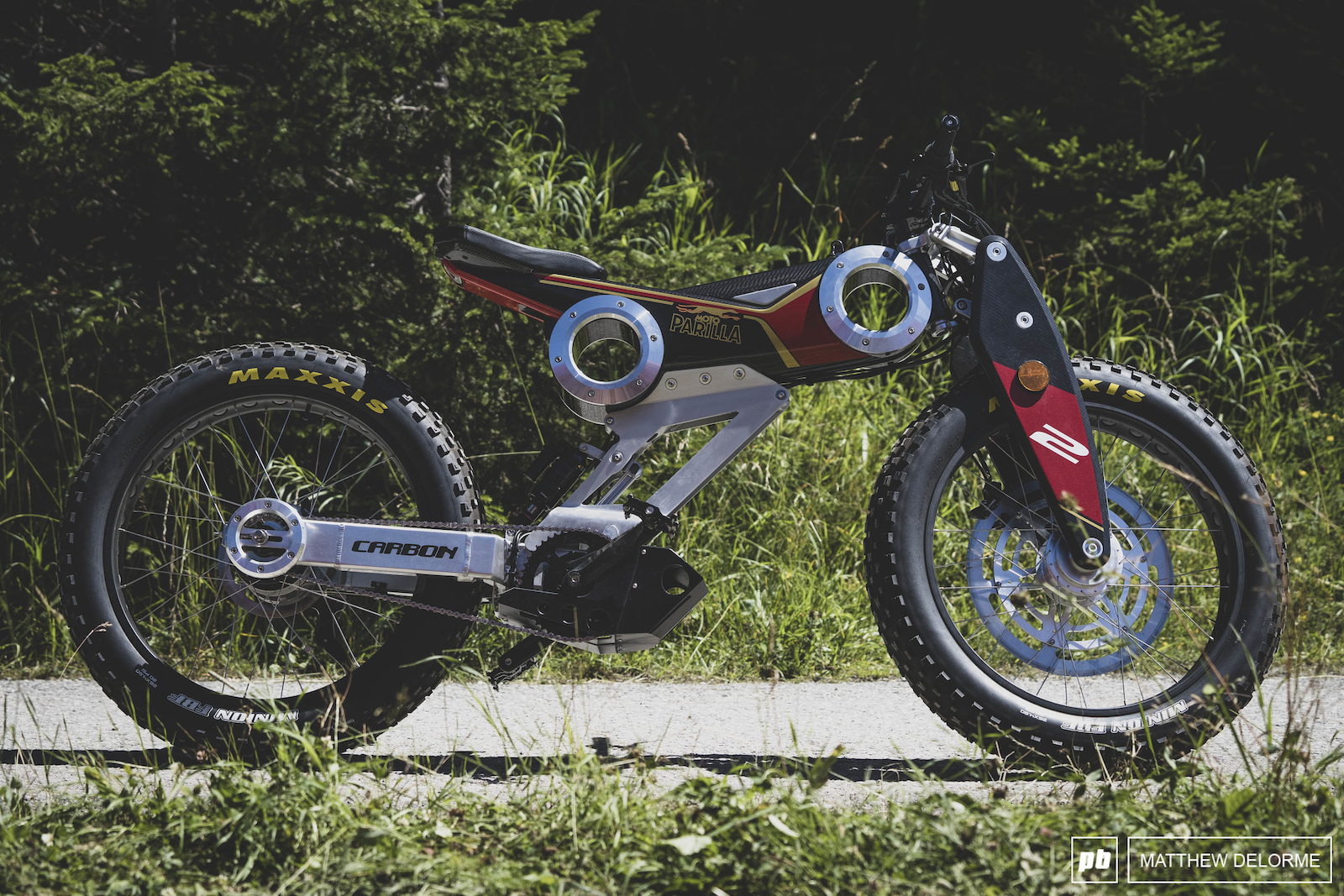 The Moto Parilla ebike. It looks more like a motorcycle and isn t quite off road capable. Still worth looking at its nuttiness.