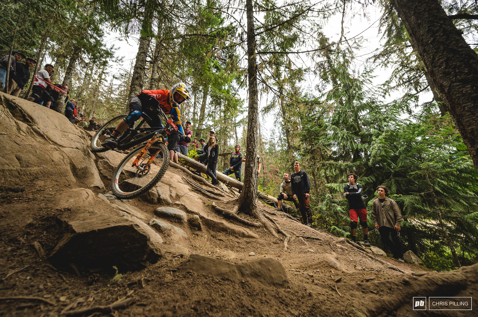 The last bit of tech is some of the most daunting on the course with wheel swallowing holes and a steep grade. Zakarias Blom Johansen makes light work of it though