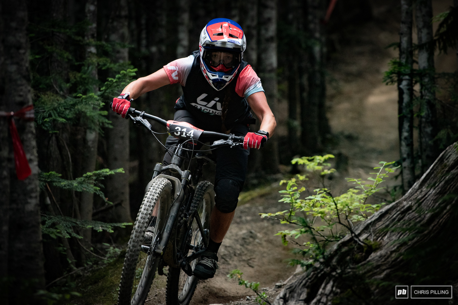 Leonie Picton focused through the ribbon of single track that is Too Tight