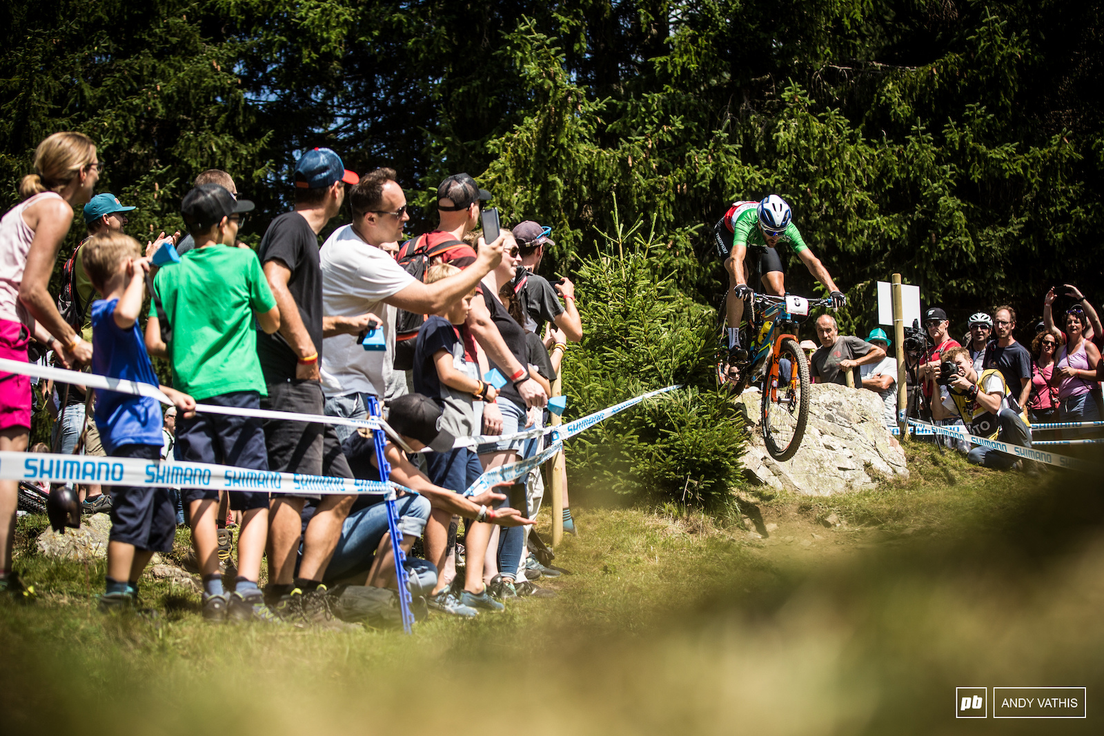 Gerhard Kerschbaumer rolling off the drop above the dual slalom section for the final spot on the podium.