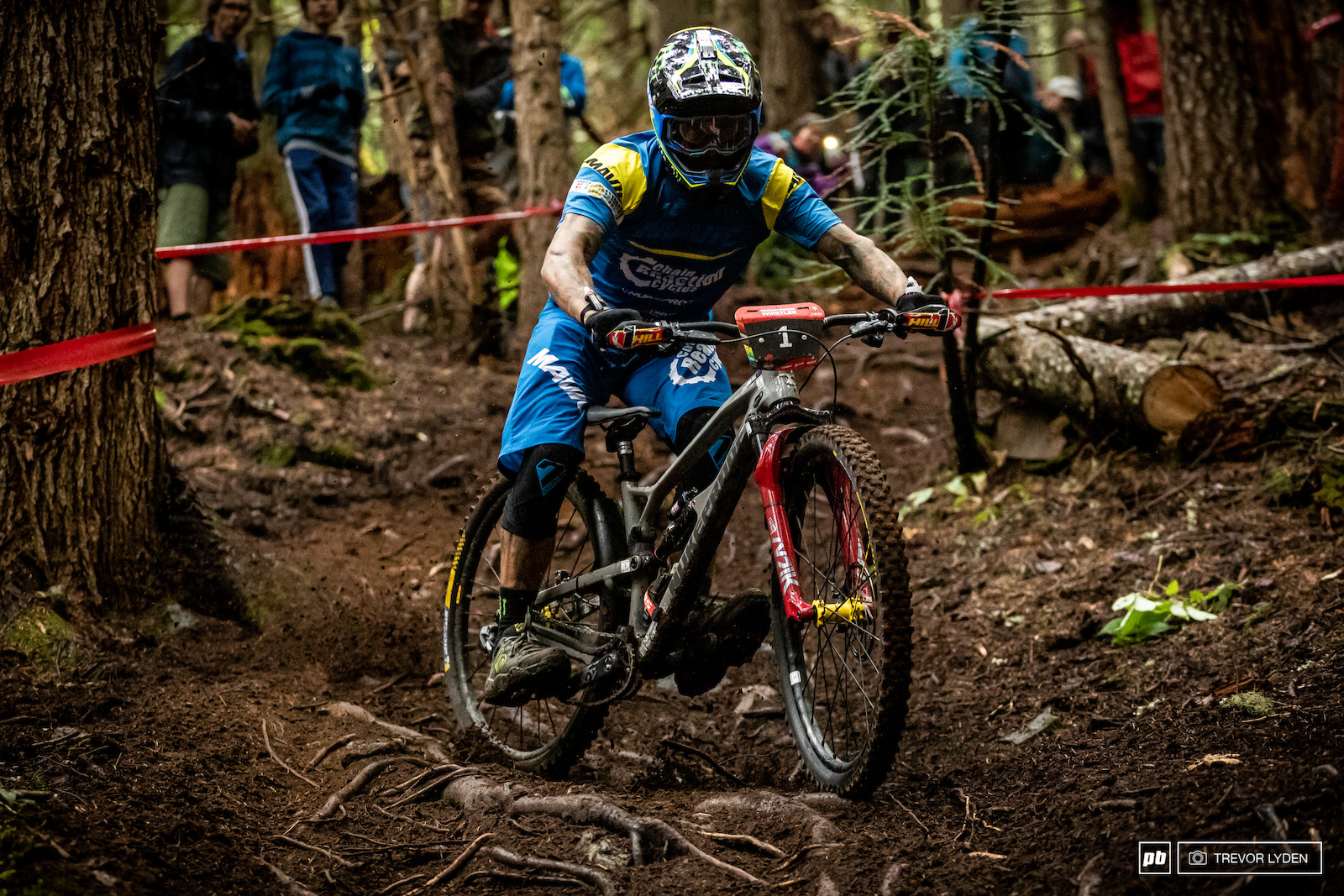 EWS leader Sam Hill sliding sideways.