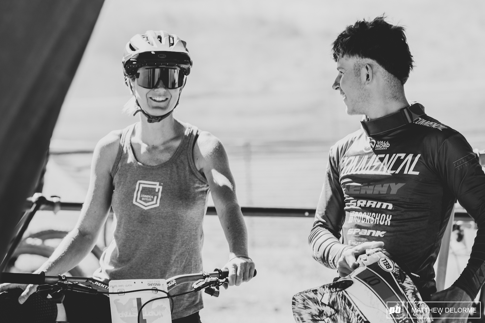 Ceclie and Antoine laugh it up before race start.