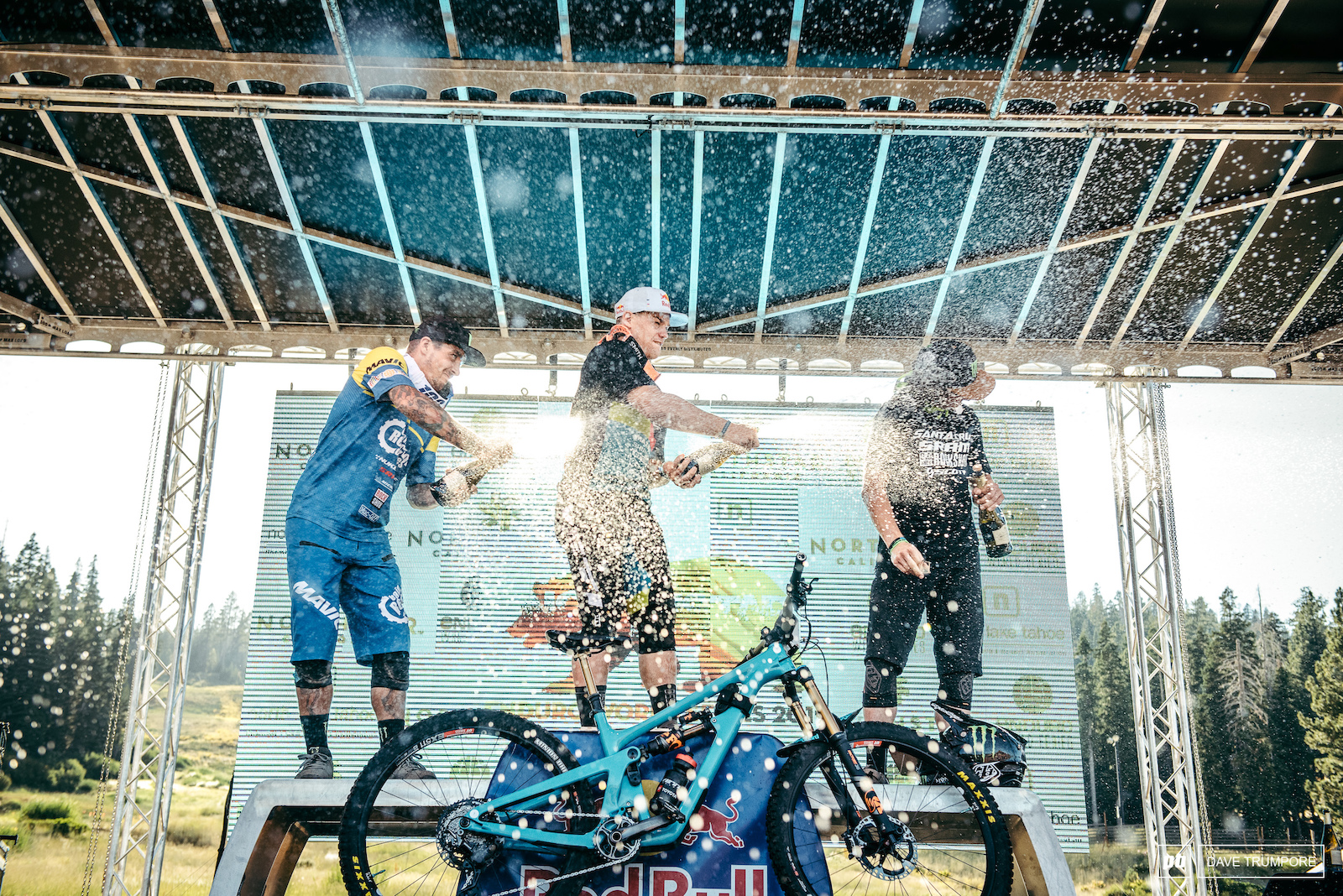 Richie Rude Sam Hill and Mitch Ropelato make in rain in Northstar