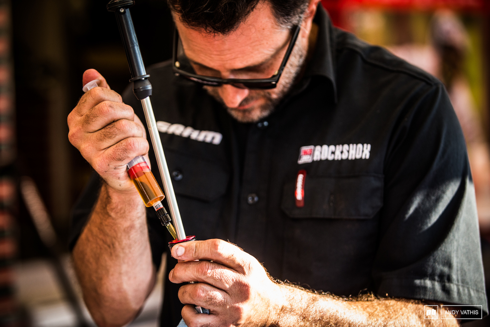 Suspension being lubed and prepped over at SRAM.