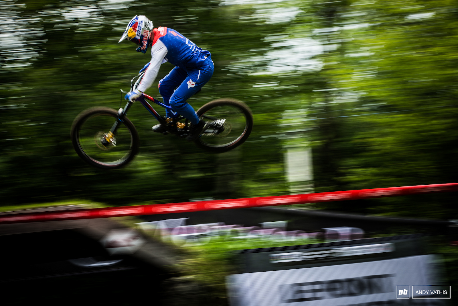 Loic Blueni hovering over the XC course.