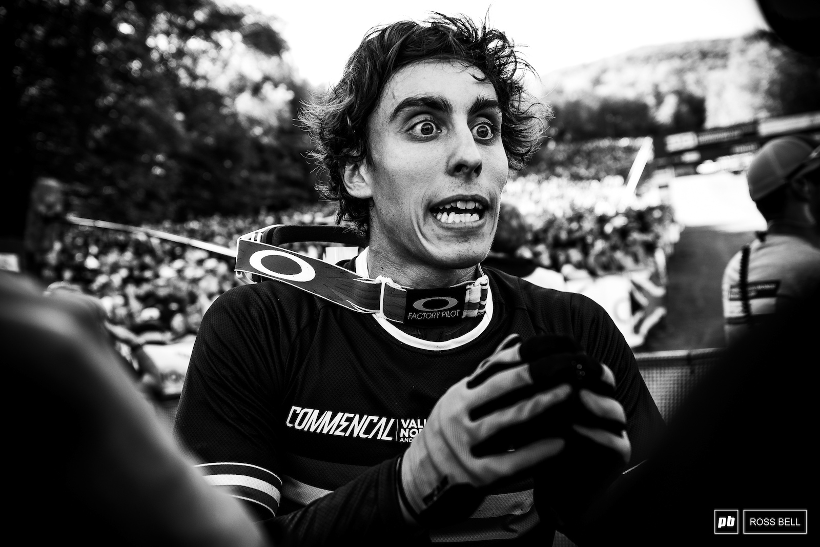 Amaury Pierron gets animated as he describes his race run antics to team mates Gatean Ruffin and Myriam Nicole.
