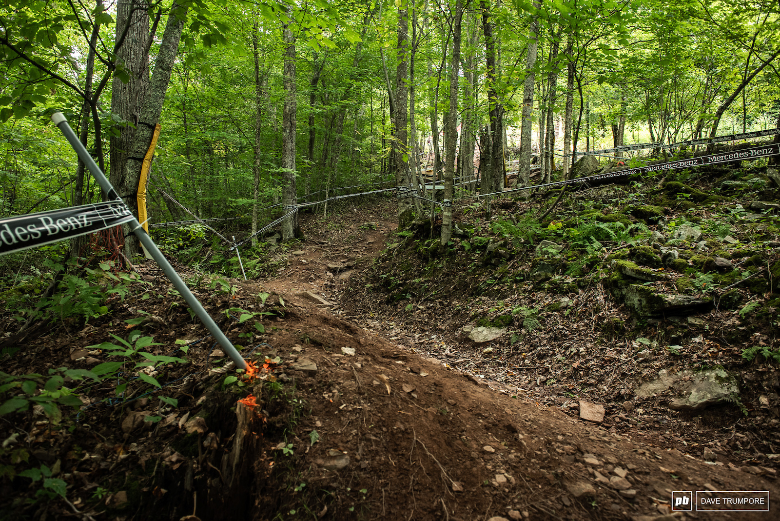 A steep chute and a clever little bench cut to slow riders and force them to change direction. Lots subtle little trails building details are evident on this track.