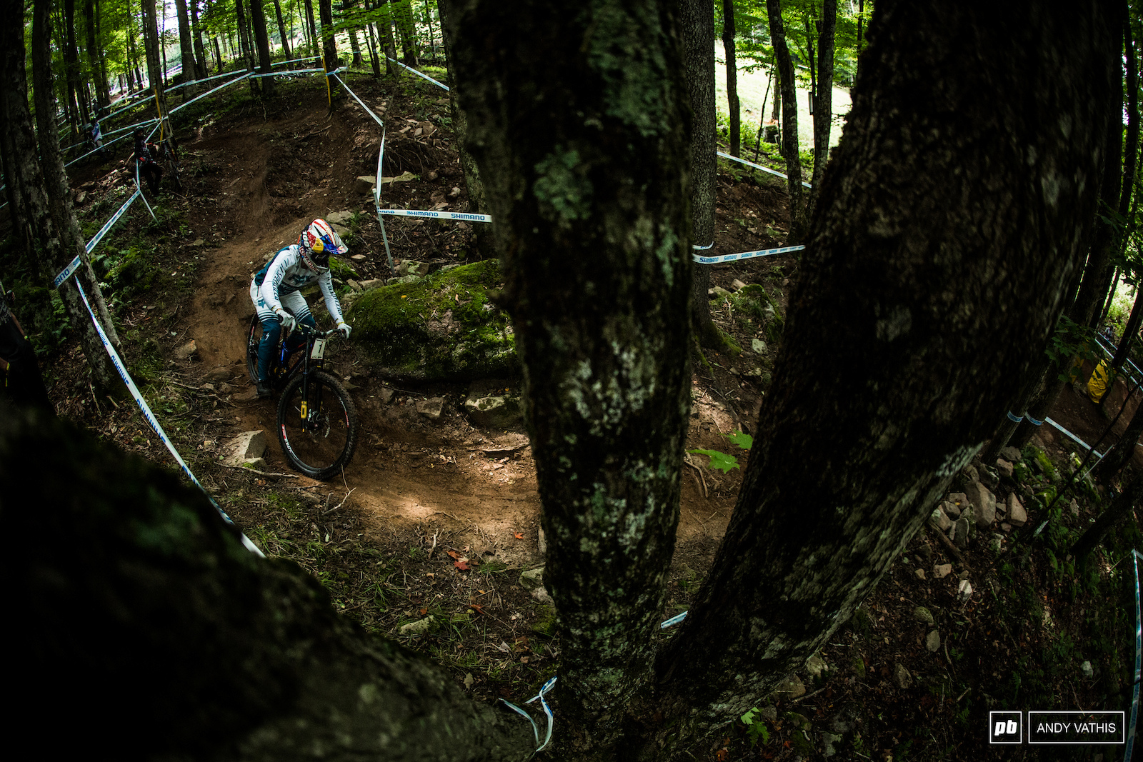 Loic Bruni lining up the tricky exit out into the berms.
