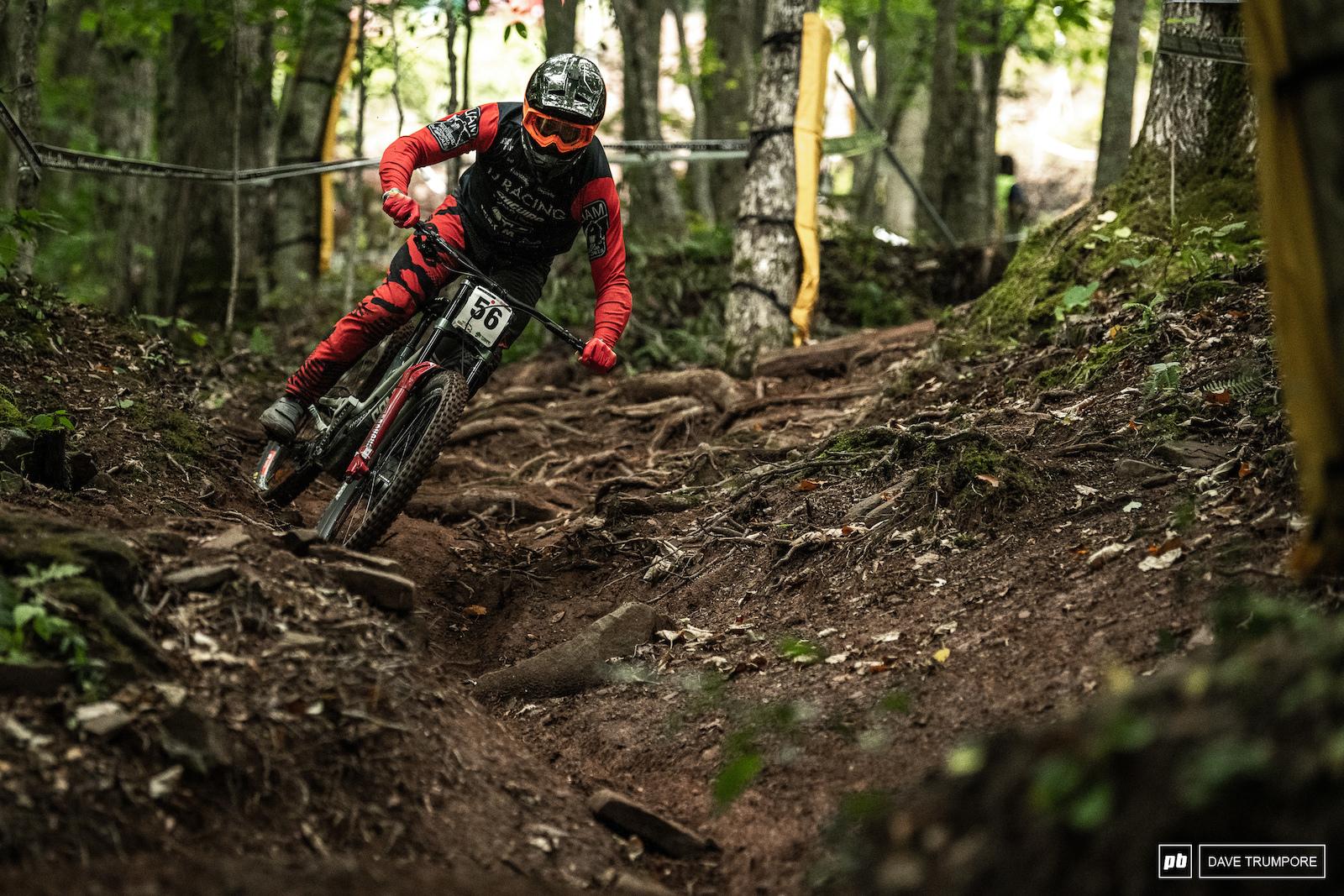 Rafael Gutierrez lets the back end get loose across some massive roots