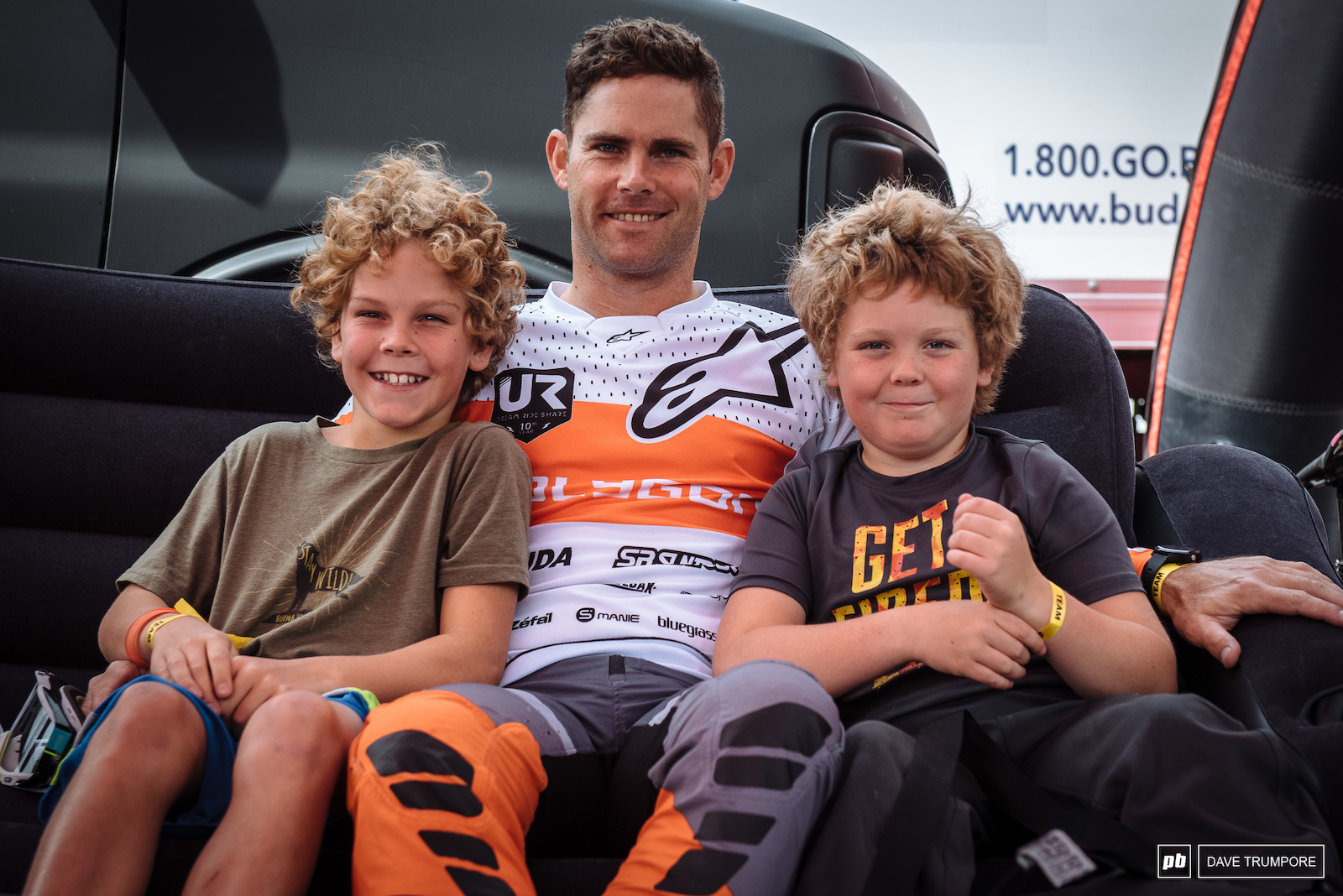 Mick Hannah has his two sons Duke on the left and Rowdy on the right here to watch their first ever World Cup event.
