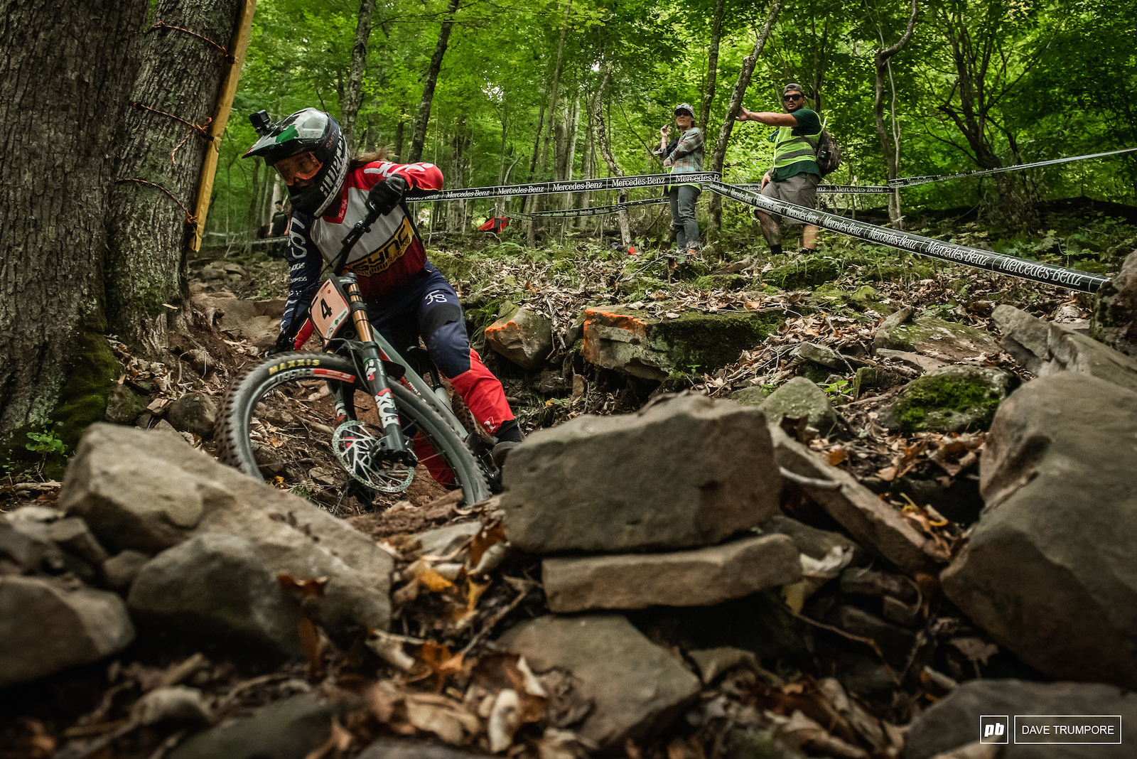 Vero Widmann about half way through the the massive rock garden that makes up most of the lower track